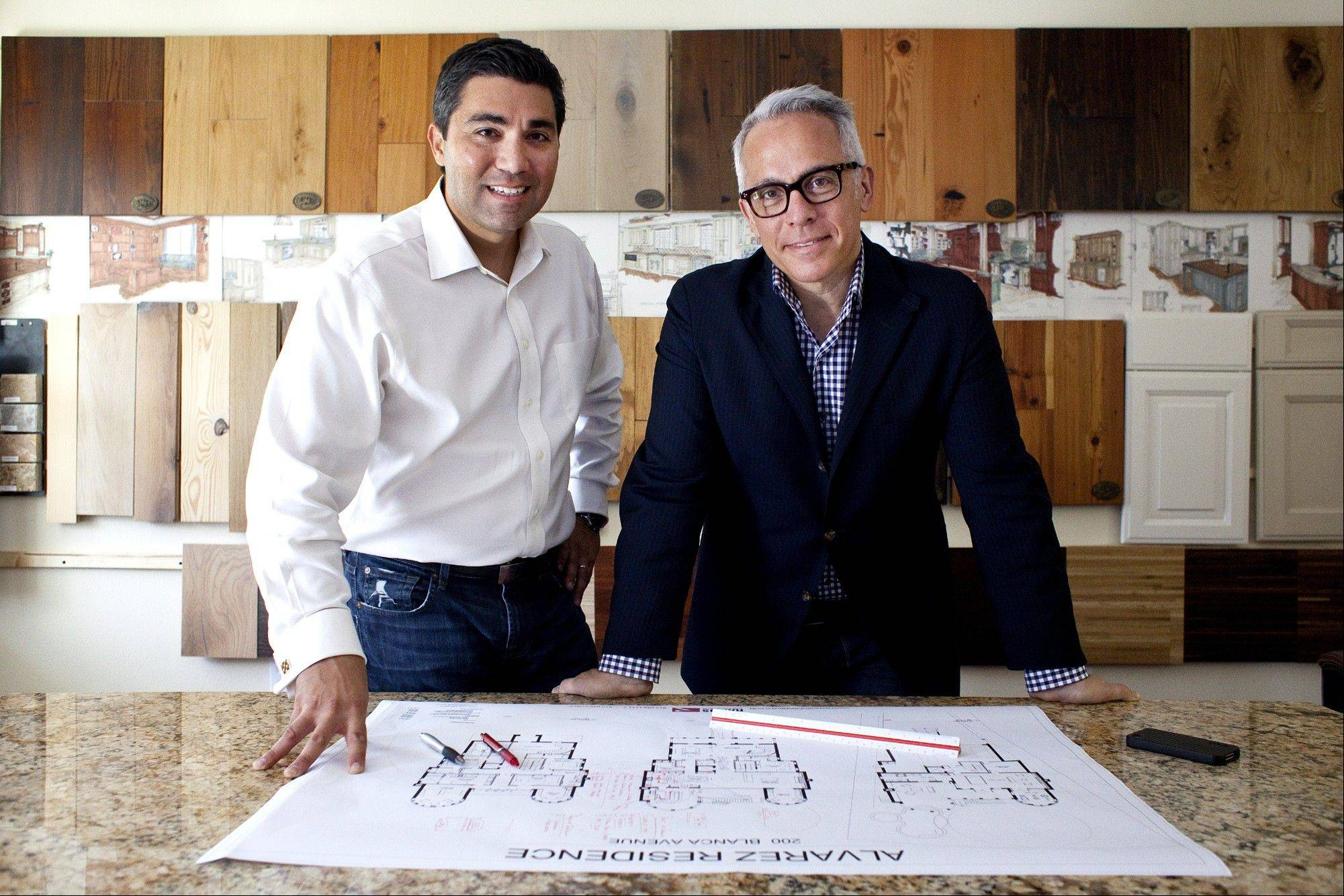Celebrity chef Geoffrey Zakarian, right, and local developer James Ramos have teamed up to design functional, usable kitchen spaces.