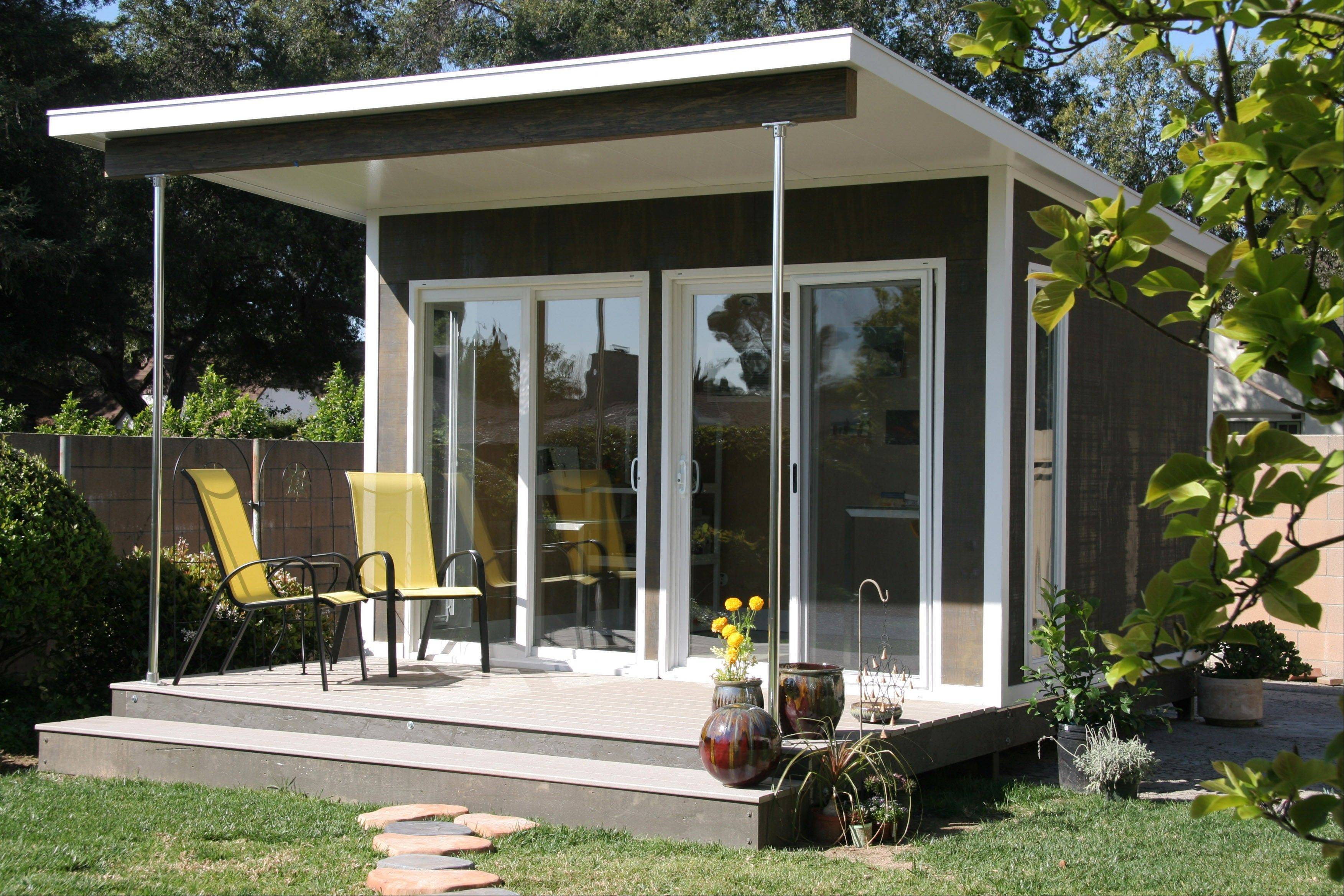 A prefabricated cabin is used as a backyard artist studio in Pasadena, Calif. The Zip model by Cabin Fever in Miami is shipped flat and can be assembled in just a few days.