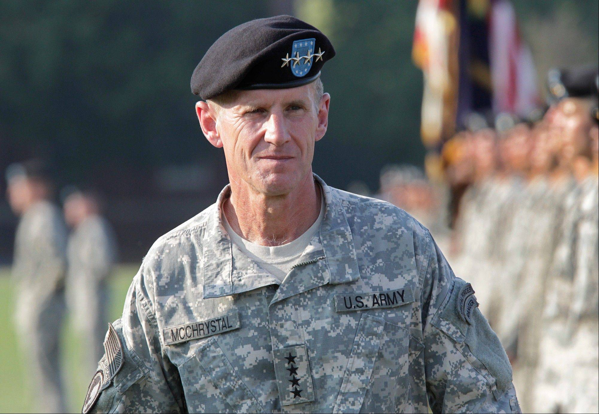 Associated Press/July 23, 2010 Gen. Stanley McChrystal reviews troops for the last time as he is honored at a retirement ceremony at Fort McNair in Washington.