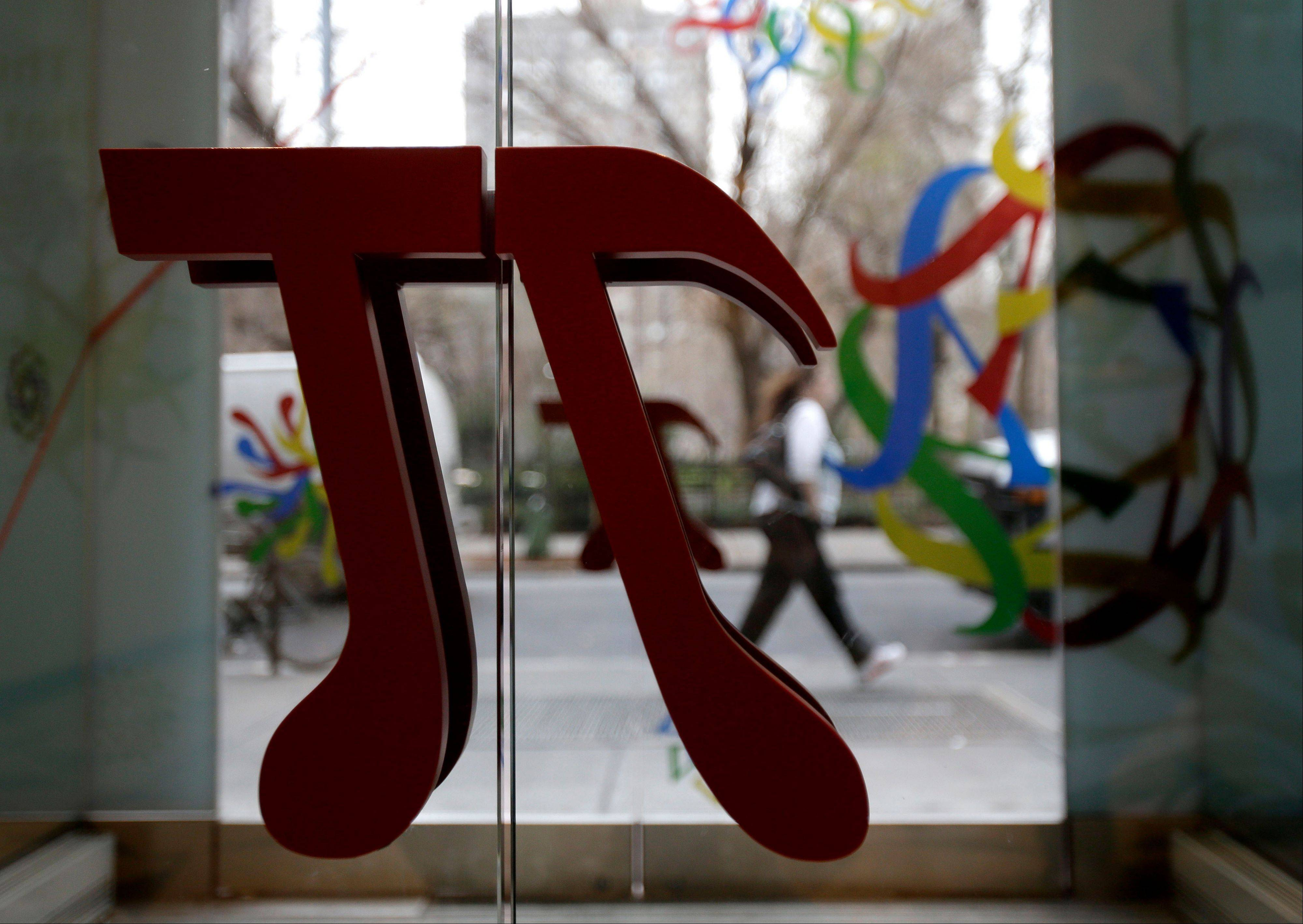 A door handle in the shape of pi greets visitors to the new National Museum of Mathematics in New York. The museum is aimed at kids aged 8 to 13, and curators have given the place a playground feel.