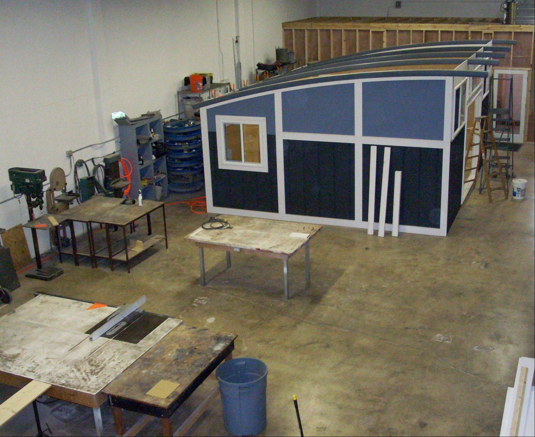 A prefabricated backyard studio under construction in Cabin Fever's manufacturing plant in Miami.