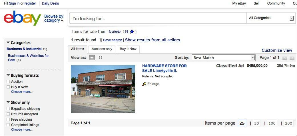 The True Value hardware store on Milwaukee Avenue in Libertyville is for sale on eBay for $495,000.