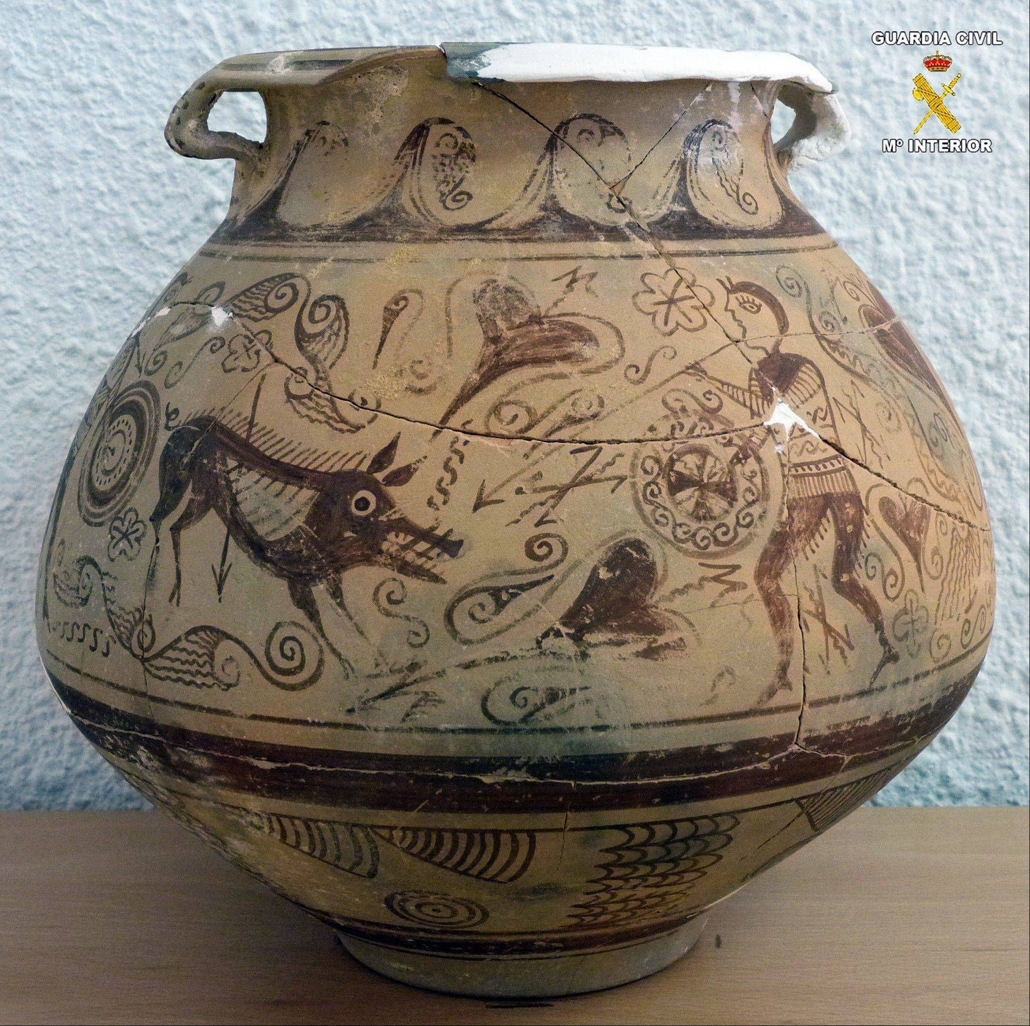 Associated Press/photo from Spanish Interior MinistryA very rare vase from late second century BC that was seized by police after it was found in an antique shop in the town of El Campello, eastern Spain.