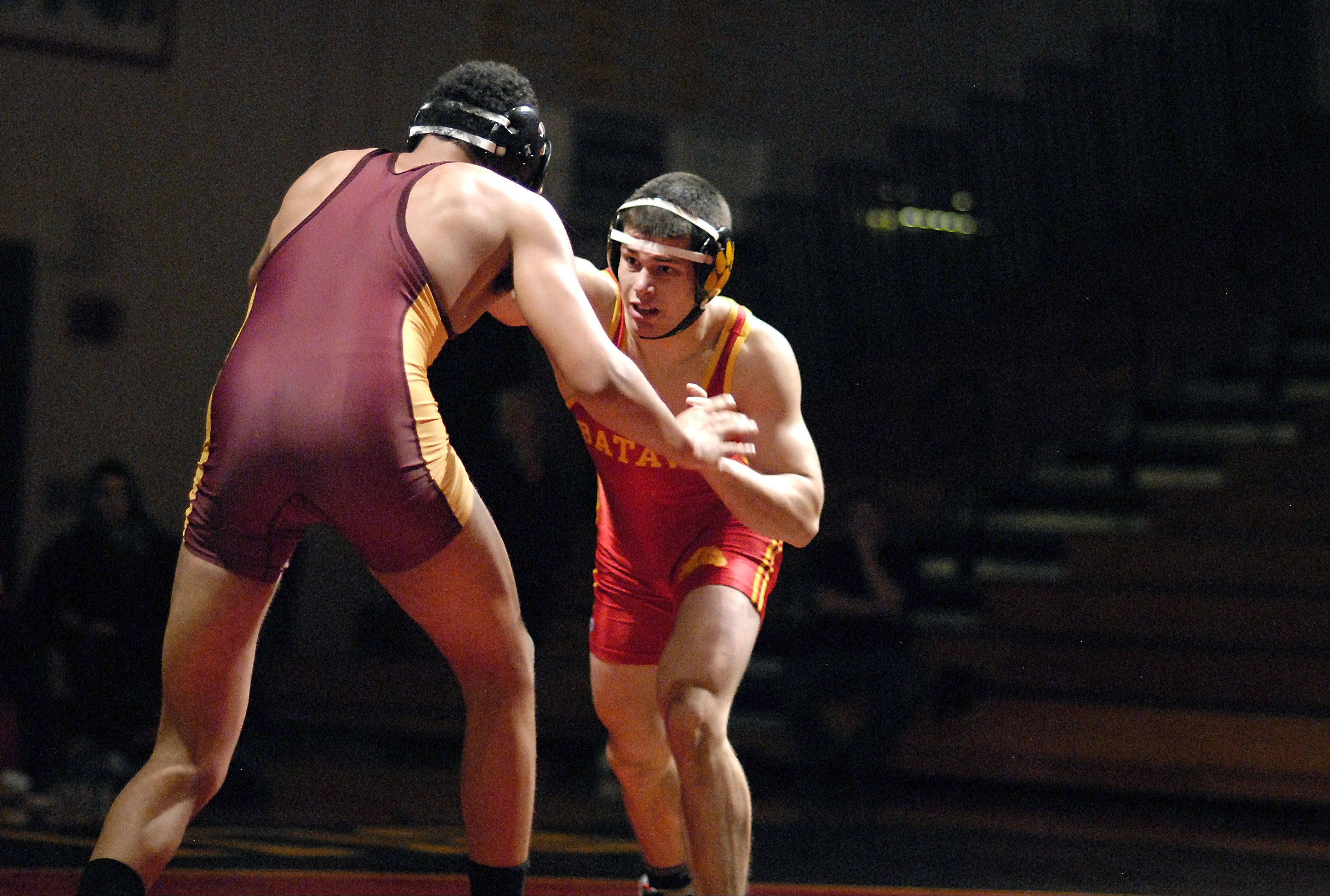 Batavia's Noah Frazier faces Schaumburg's Austin Manetta in the 182 pound match on Saturday, January 5. Manetta took the win.