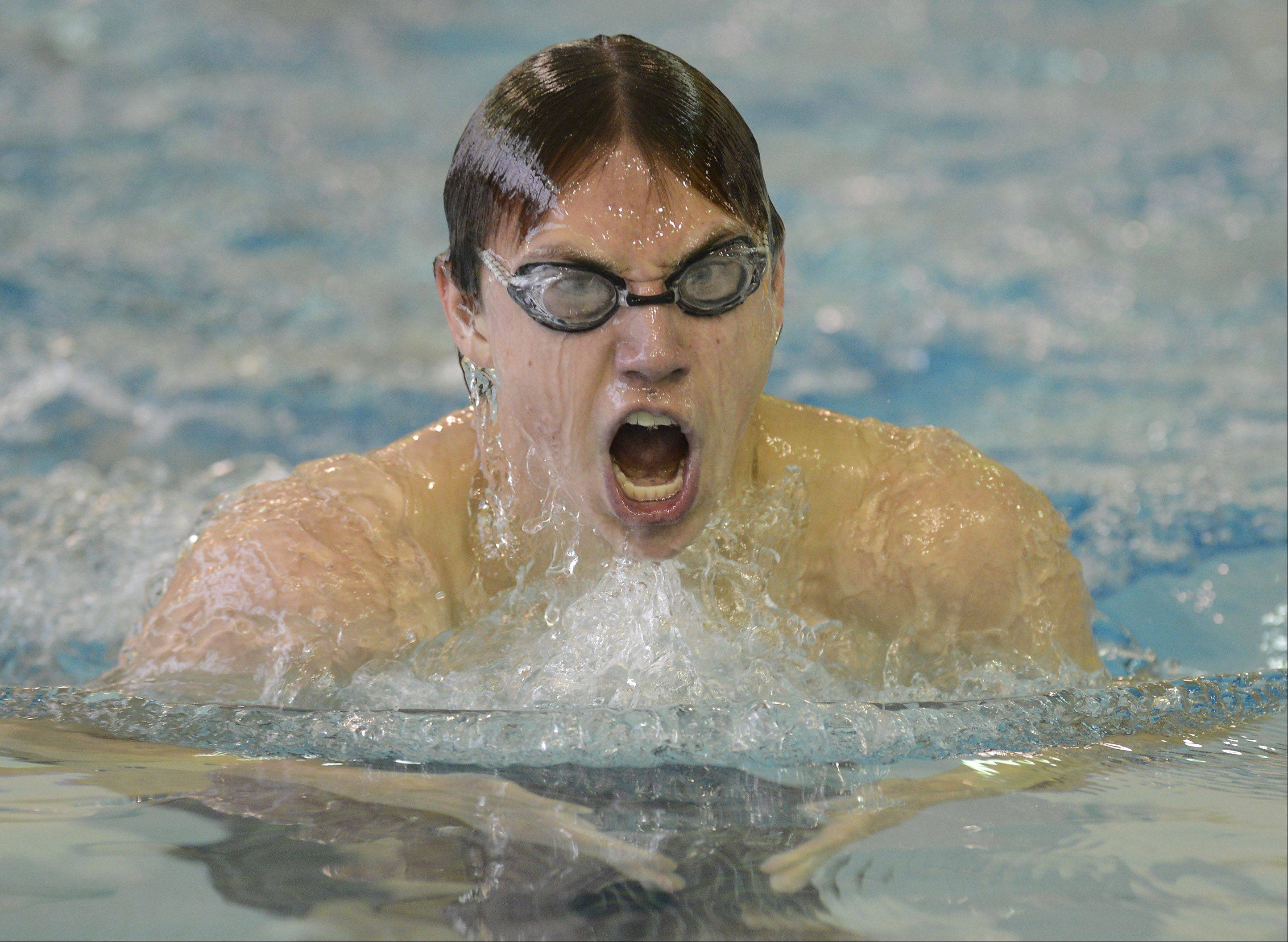 Elk Grove's Bart Kosciarz competes in the 200-yard IM during the Grenadier Swim Invitational at Elk Grove on Saturday.