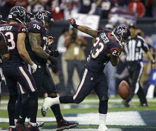 Arian Foster ran for 140 yards and a touchdown, and the Houston Texans used a stifling defensive effort for a 19-13 win over the Cincinnati Bengals on Saturday in an AFC wild-card playoff game.