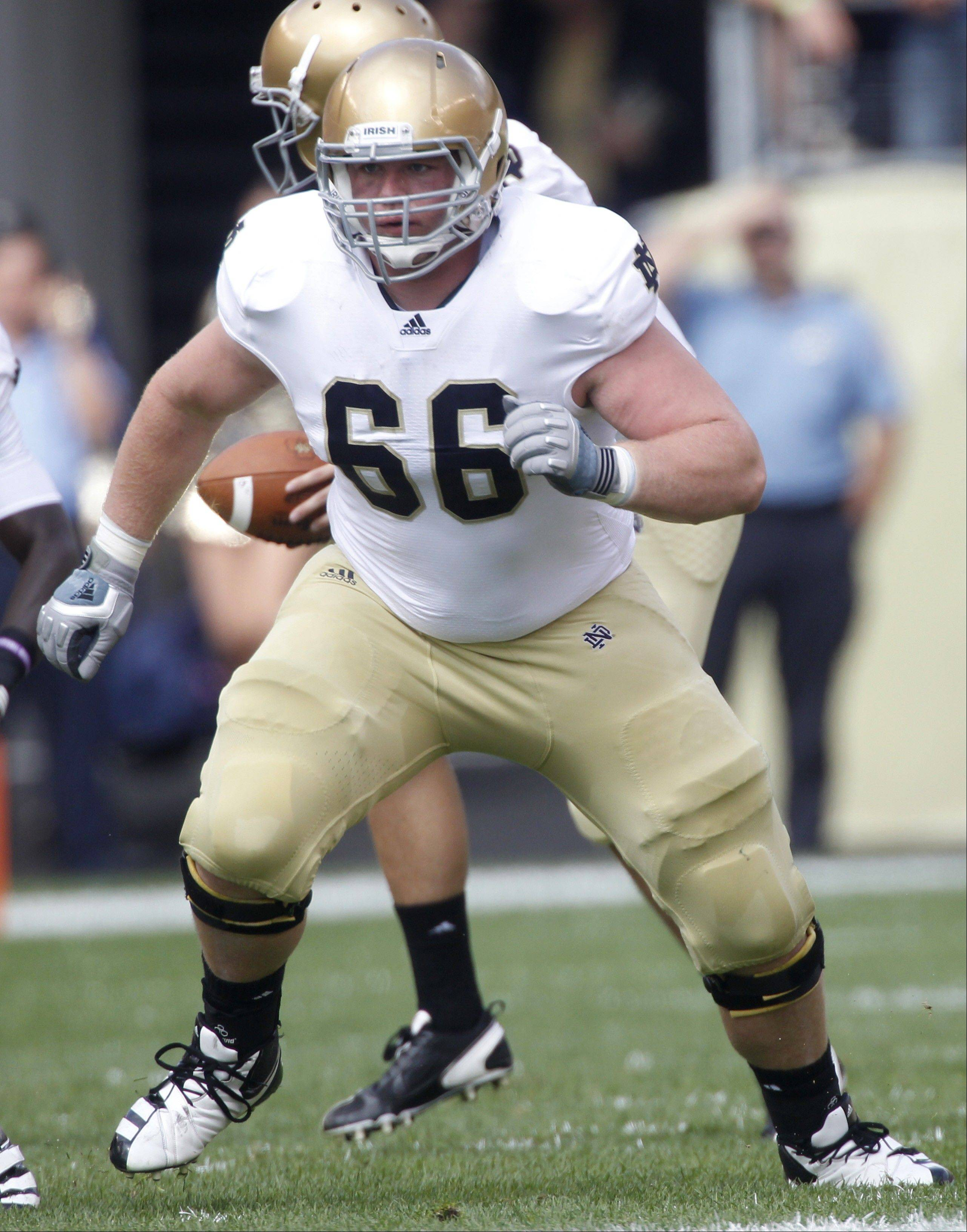 Offensive guard Chris Watt, who stands 6-feet-3 and weighs 310 pounds, will try to open some big holes for Notre Dame running backs against Alabama in today's BCS national championship.