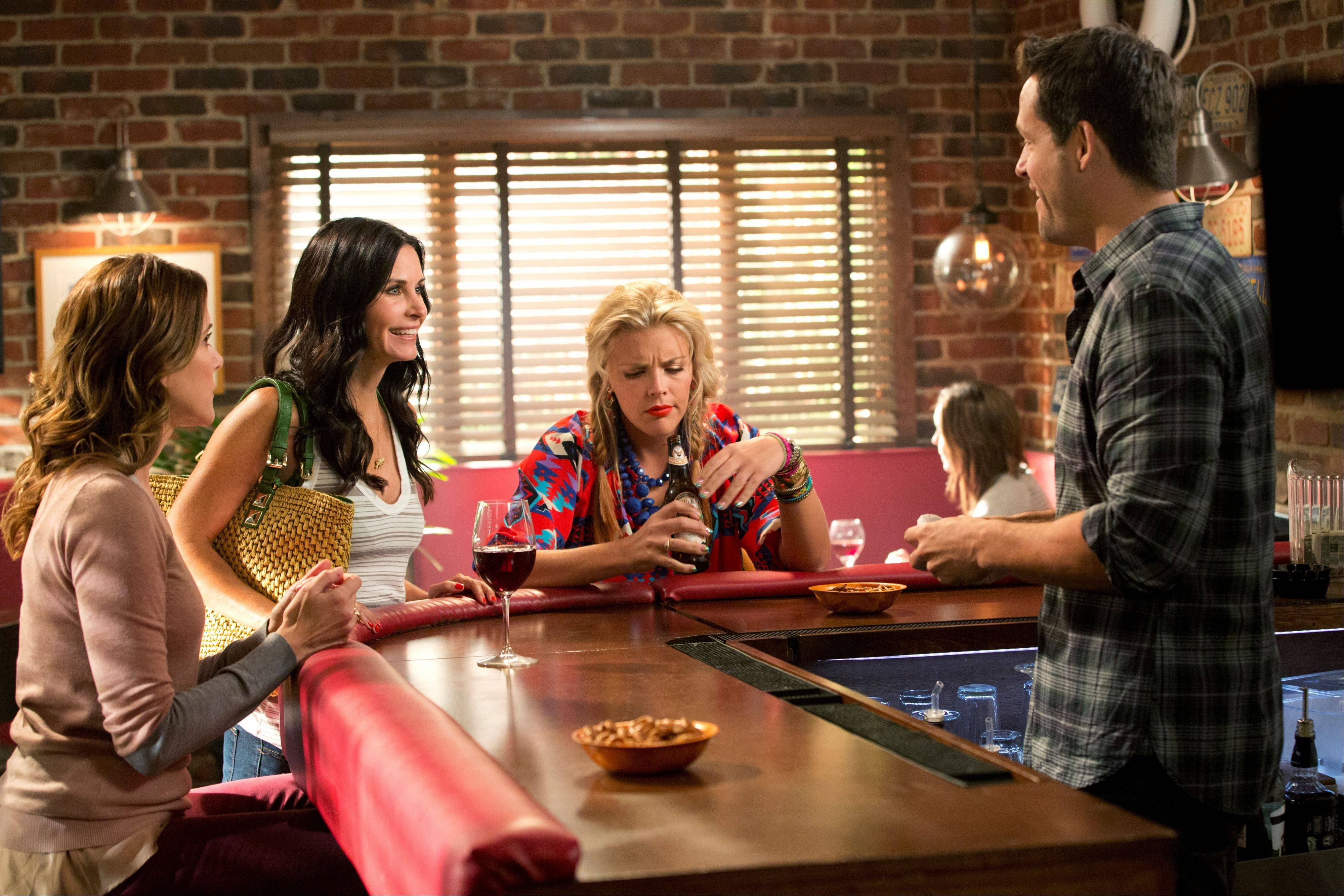"The ""Cougar Town"" gang (Christa Miller, left, Courteney Cox, Busy Philipps, Josh Hopkins) returns Jan. 8 at a new address: TBS."