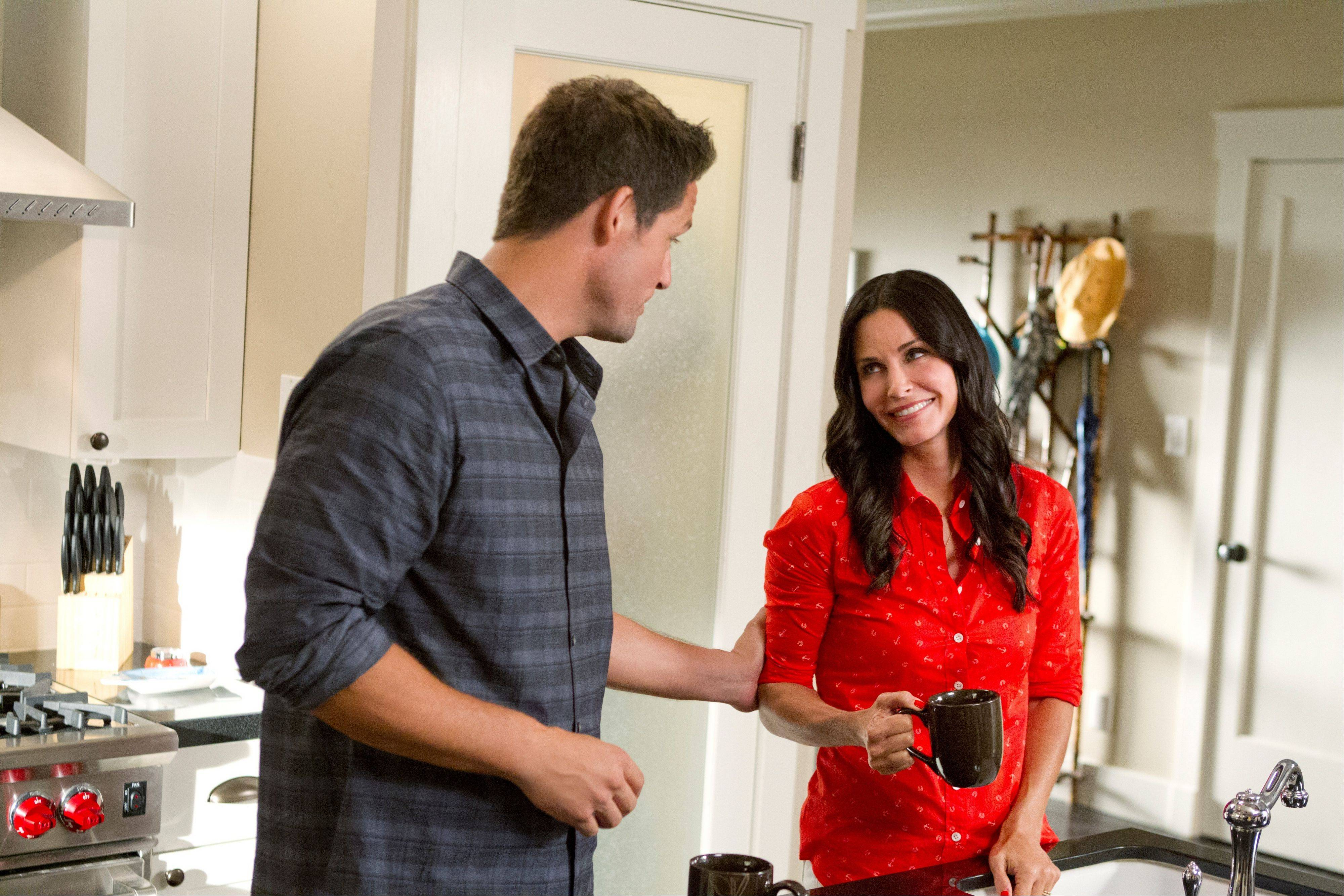 "Grayson (Josh Hopkins) and Jules (Courteney Cox) settle in to married life when ""Cougar Town"" makes its move to TBS Jan. 8."