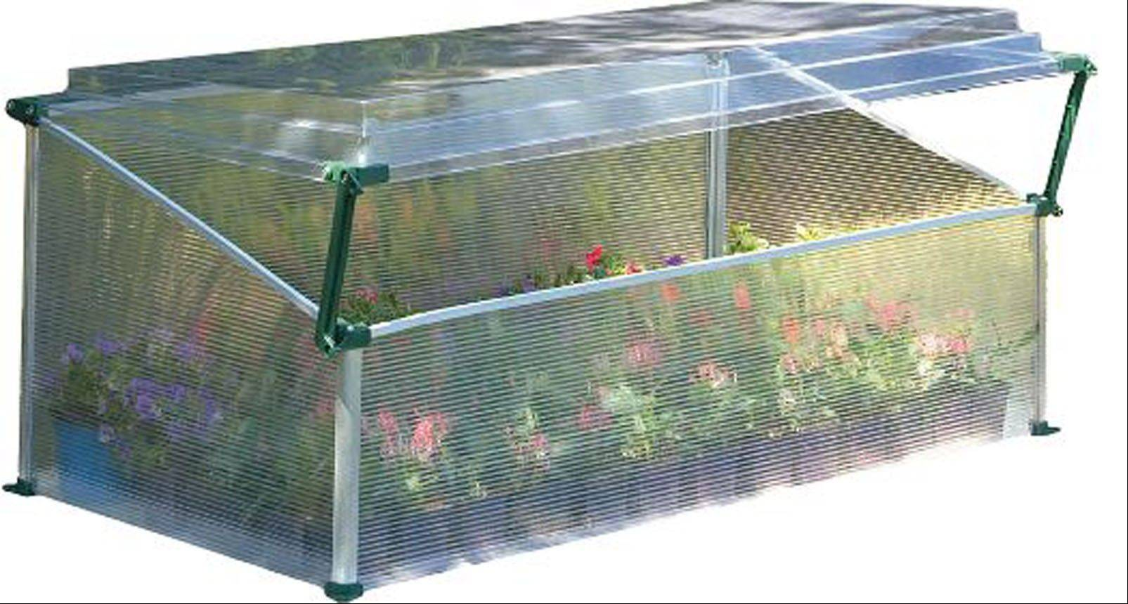 A cold frame is an option for some who desire the four-season capabilities of a typical greenhouse. This version, a Poly-Tex Cold Frame Greenhouse, is selling for $60 online at cabelas.com