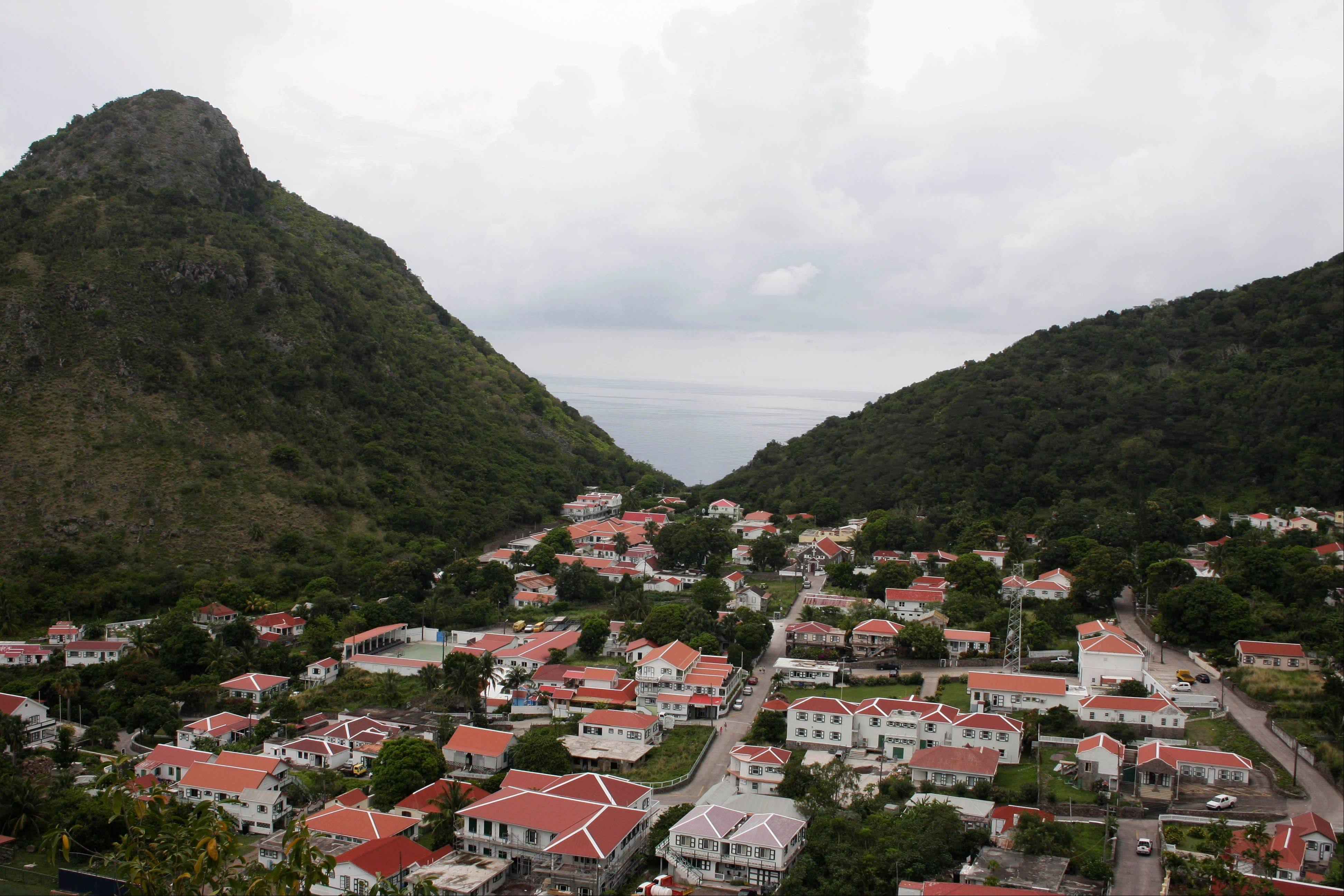A view of The Bottom, which is the capital of the mountainous island of Saba.