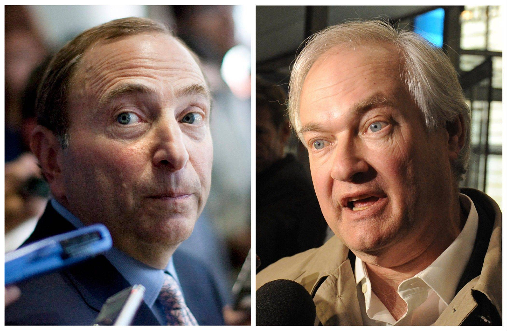 NHL Commissioner Gary Bettman, left, and Donald Fehr, executive director of the NHL Players' Association, have said the NHL and the players' association reached a tentative agreement early Sunday to end a nearly four-month-old lockout that threatened to wipe out the season.