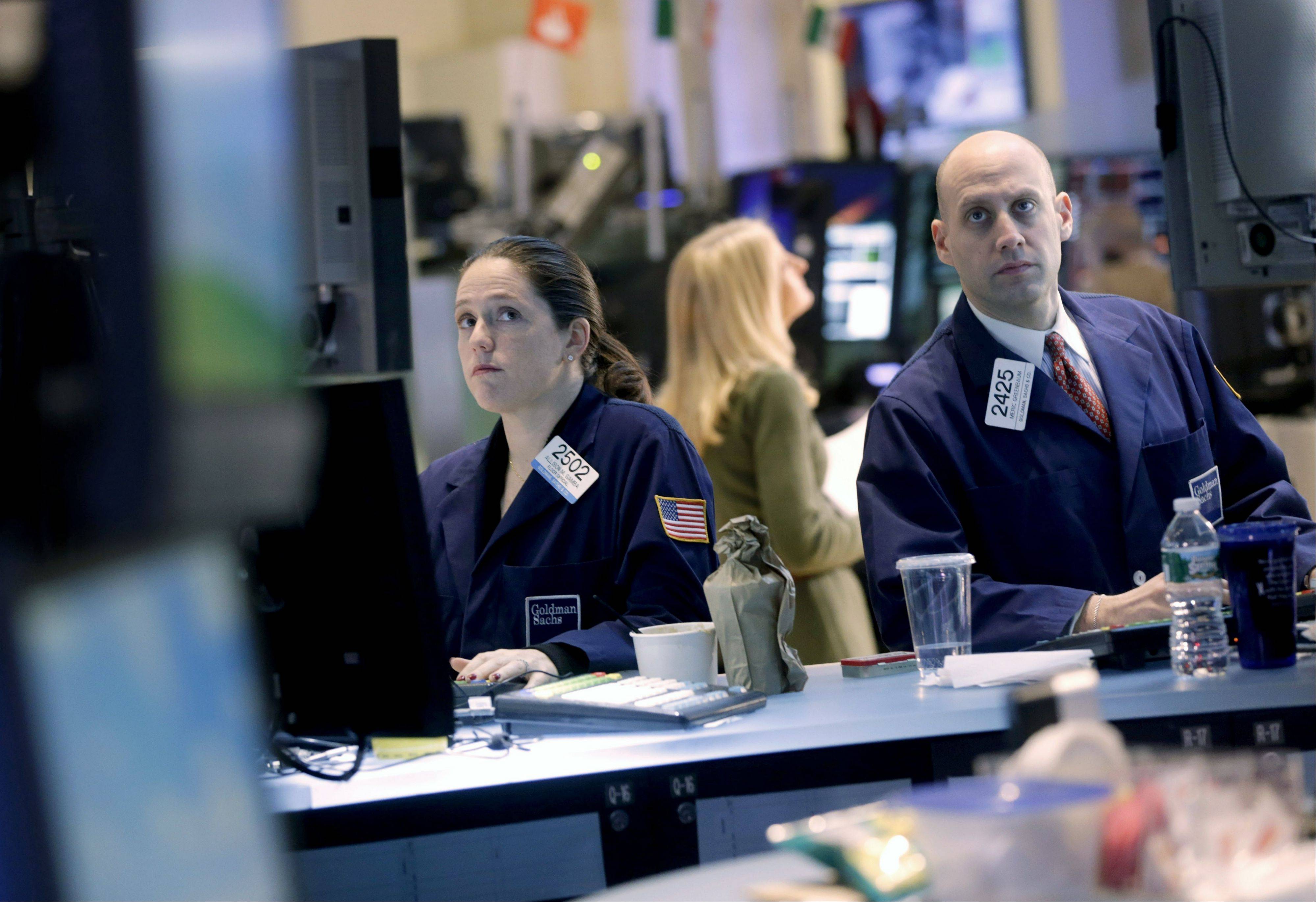 Stocks fell Monday, after the Standard & Poor�s 500 Index climbed to a five-year high, as investors awaited the start of the earnings season Tuesday.