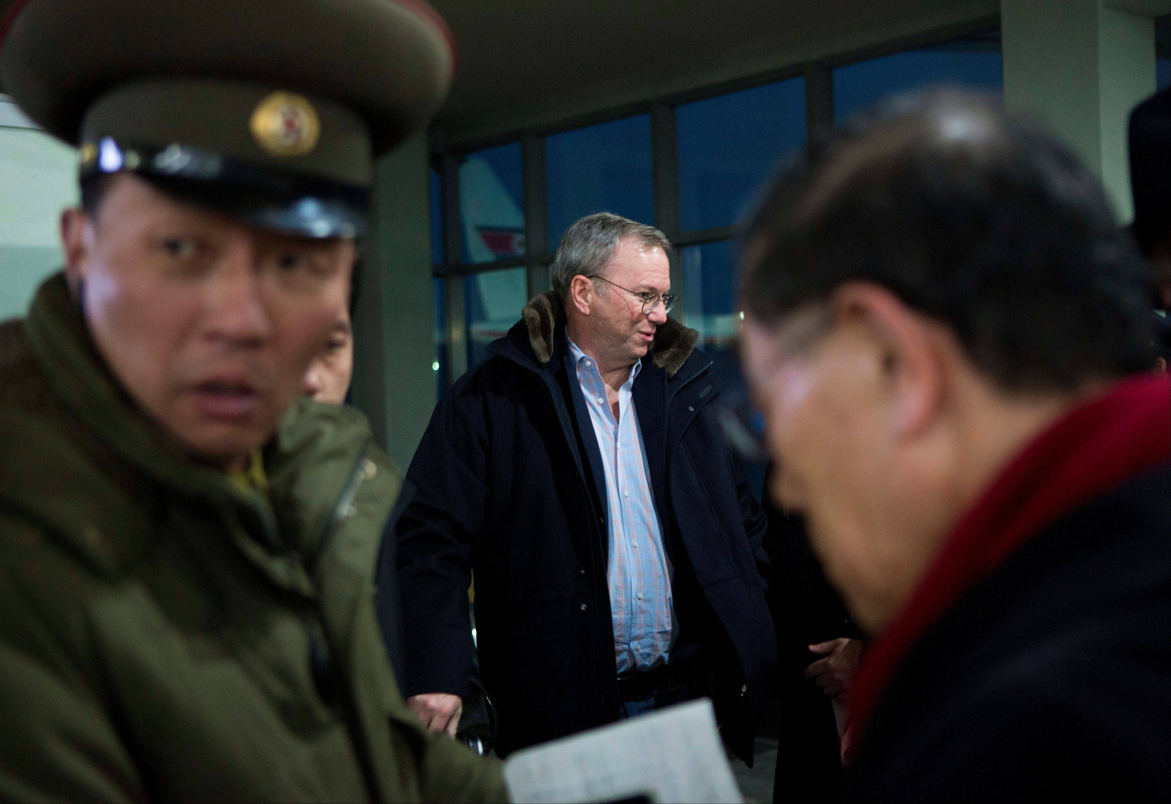 Executive Chairman of Google Eric Schmidt, center, arrives Monday at Pyongyang International Airport in Pyongyang, North Korea. Schmidt arrived in the North Korean capital along with former New Mexico Gov. Bill Richardson. Richardson called the trip to North Korea a private humanitarian visit.