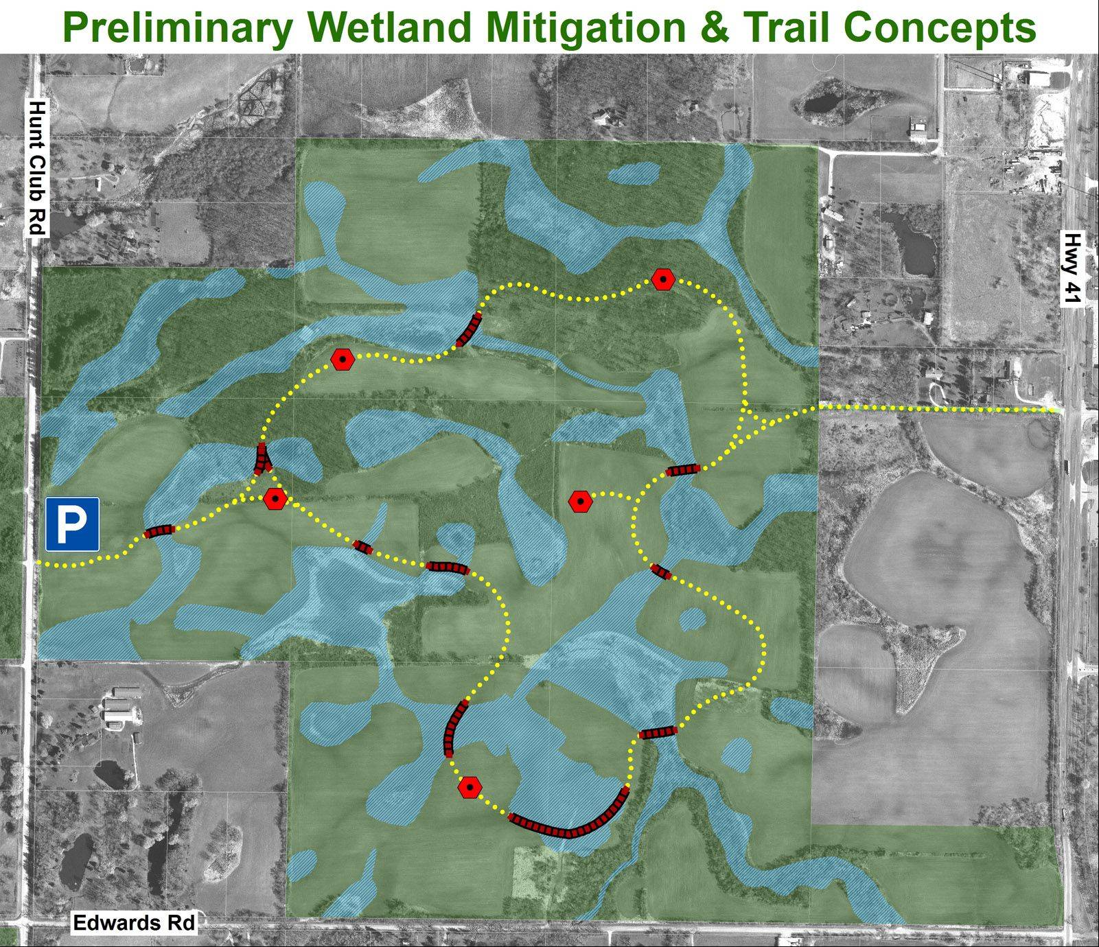 Compensating for wetlands to be affected by the Elgin-O�Hare Expressway extension could result in up to $9 million in improvements at Pine Dunes Forest Preserve near Wadsworth. The Illinois State Toll Highway Authority and Lake County Forest Preserve District are expected to pursue an agreement regarding trail and restoration work.