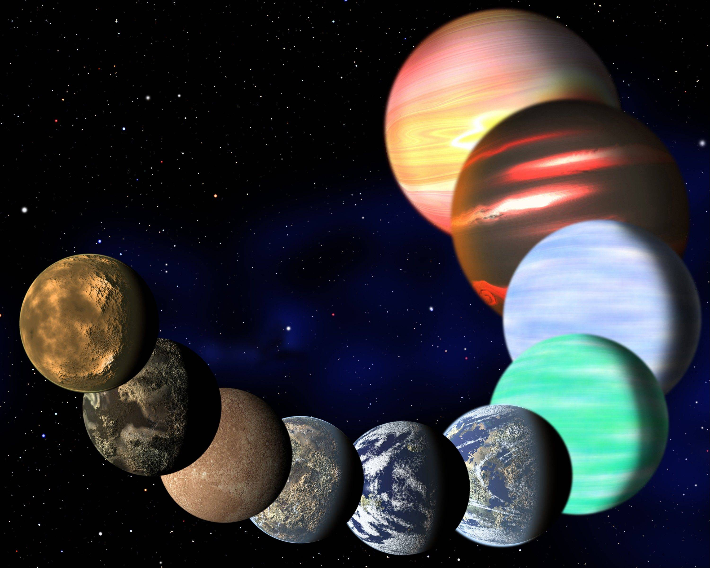 ASSOCIATED PRESS This artist rendering shows the different types of planets in our Milky Way galaxy detected by NASA's Kepler spacecraft. A new analysis of Kepler data found there are at least 17 billion planets the size of Earth.