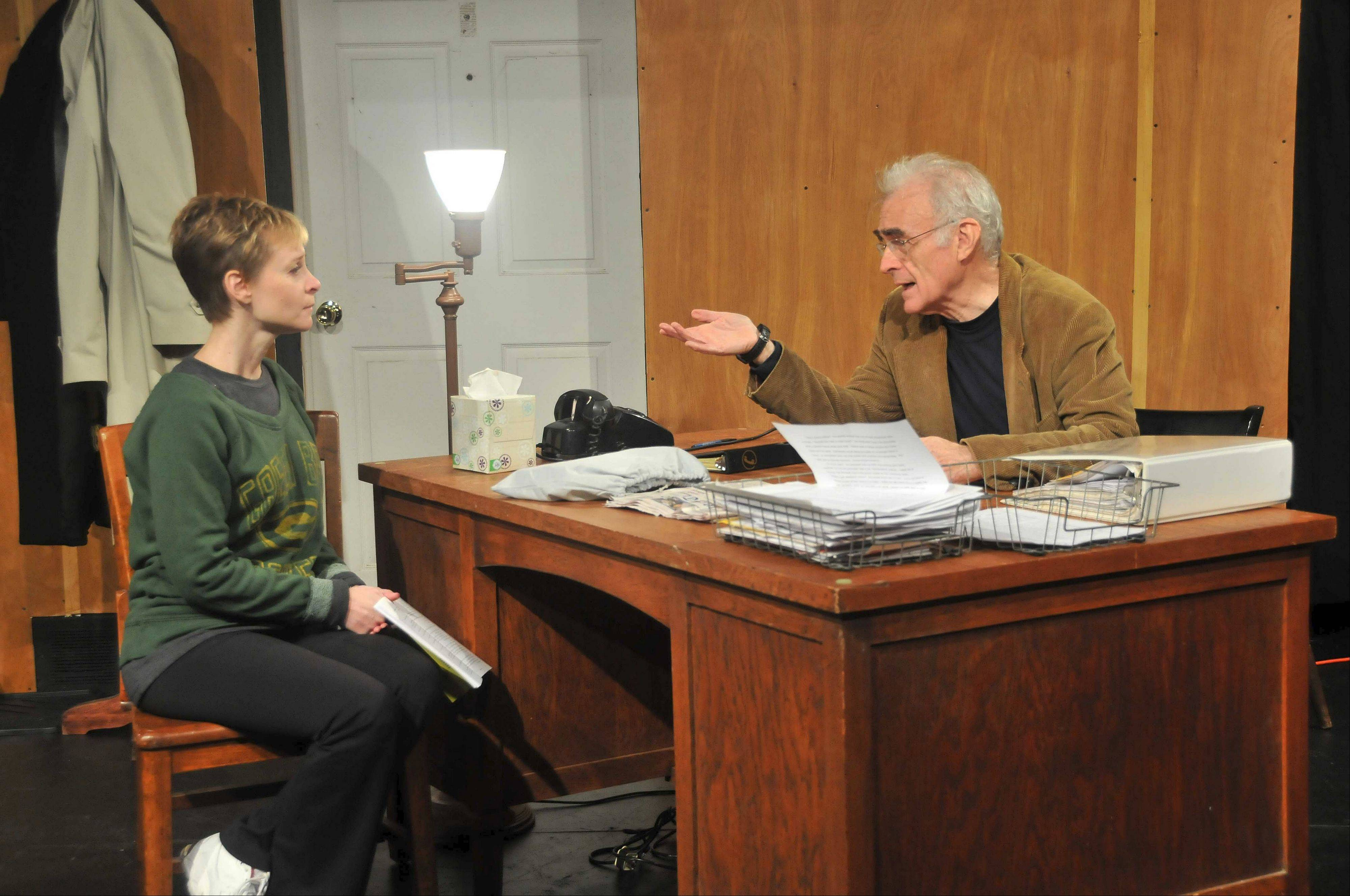 Lisa Dolnics plays secretary Sarah Schorr to Rich Scott�s Judge Biddle in The Village Theatre Guild�s 2013 opener, �Trying.�