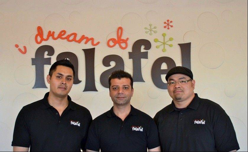 Imran Kasbati, Shoaib Aziz, Henry Nuguid, co-owners of I Dream of Falafel restaurants. Co-owner Munaf Kasbati is not pictured.