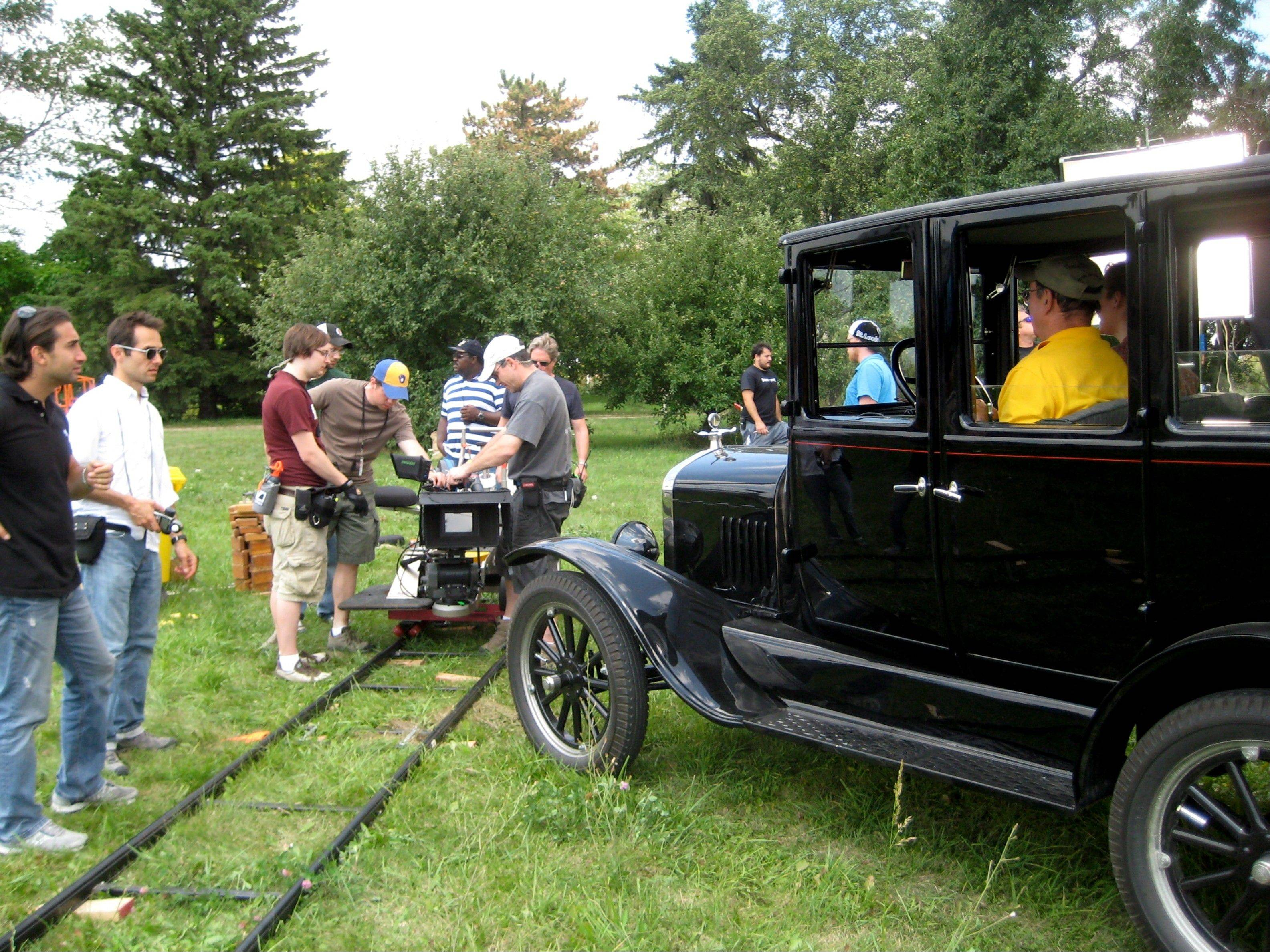 "Ed Hovorka's black Ford Model T is used on the set of ""Public Enemies"" in 2009."