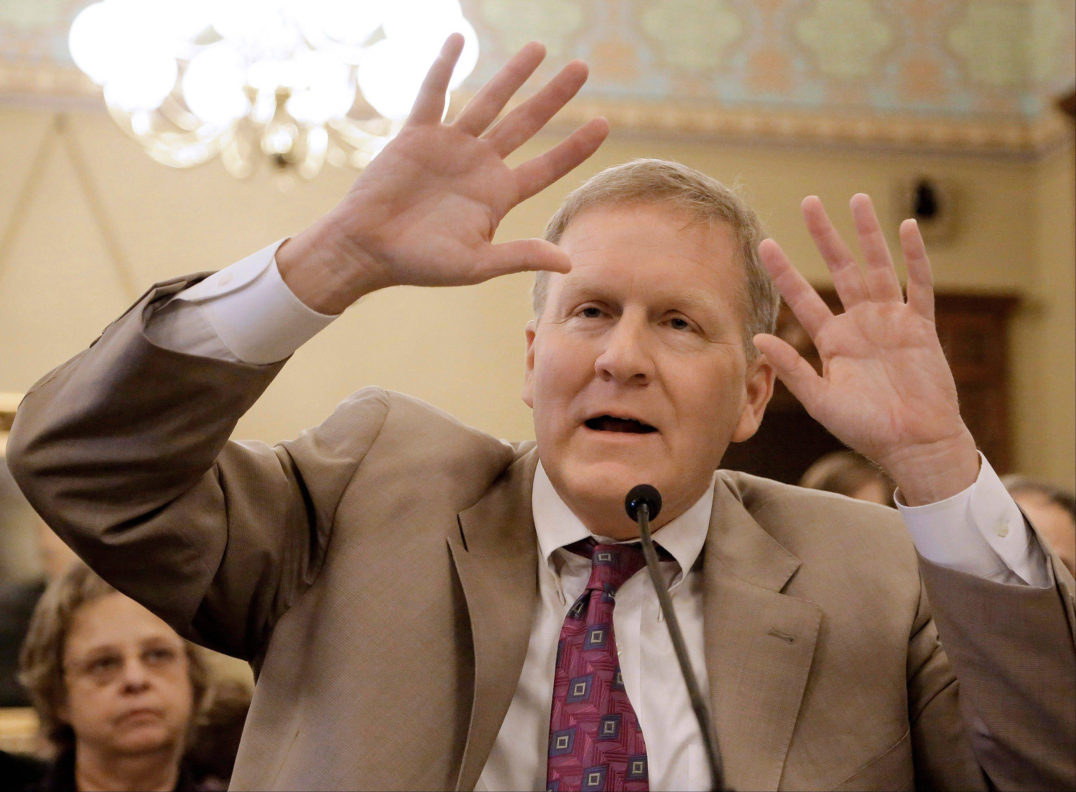 House Republican Leader Tom Cross of Oswego testifies during a House committee hearing at the Illinois Capitol Monday.