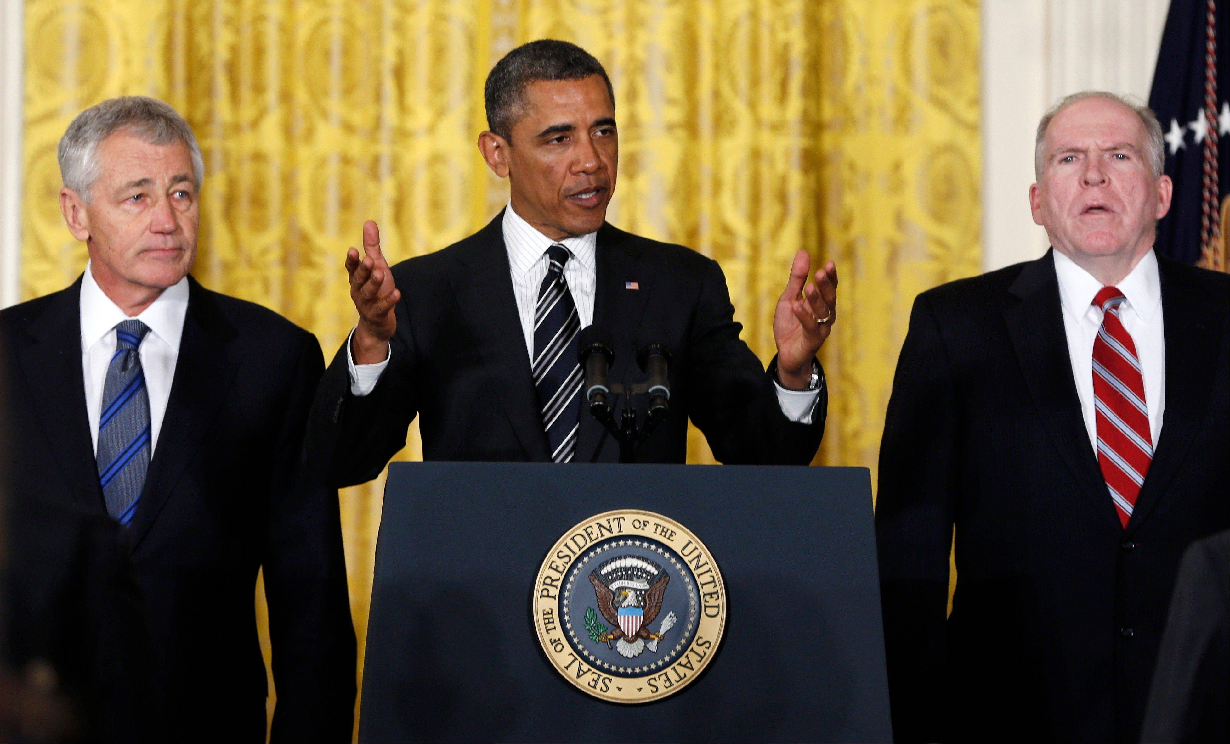 At the White House on Monday, President Barack Obama announces he is nominating Deputy National Security Adviser for Homeland Security and Counterterrorism, John Brennan, right, as CIA director; and former Nebraska Sen. Chuck Hagel, left, as defense secretary.