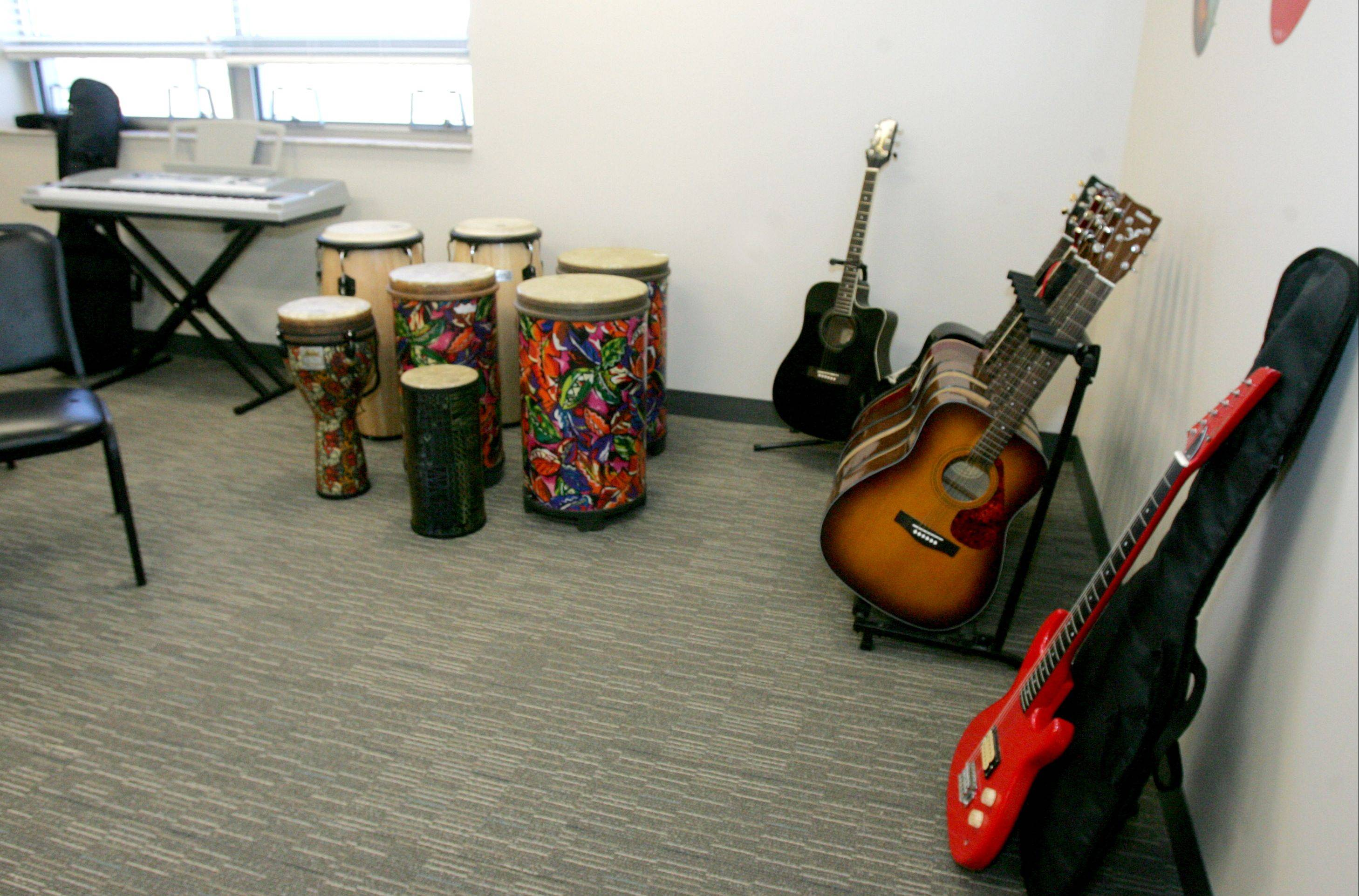 A larger music room is one amenity of the School of Expressive Arts and Learning's new building in Lombard, which opens for classes today.