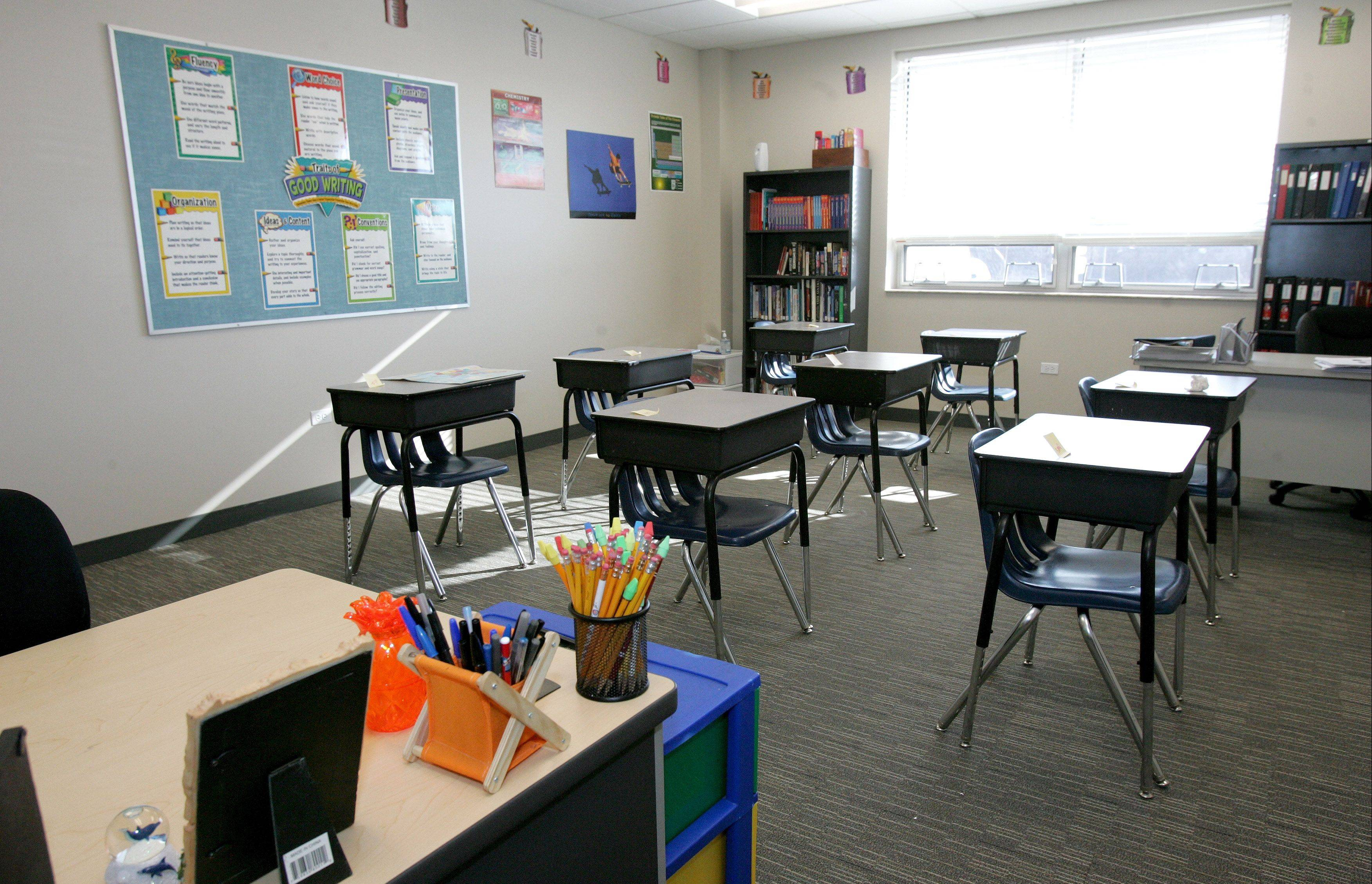 The school has 11 classrooms at its new location in Lombard, including this one for high school students.