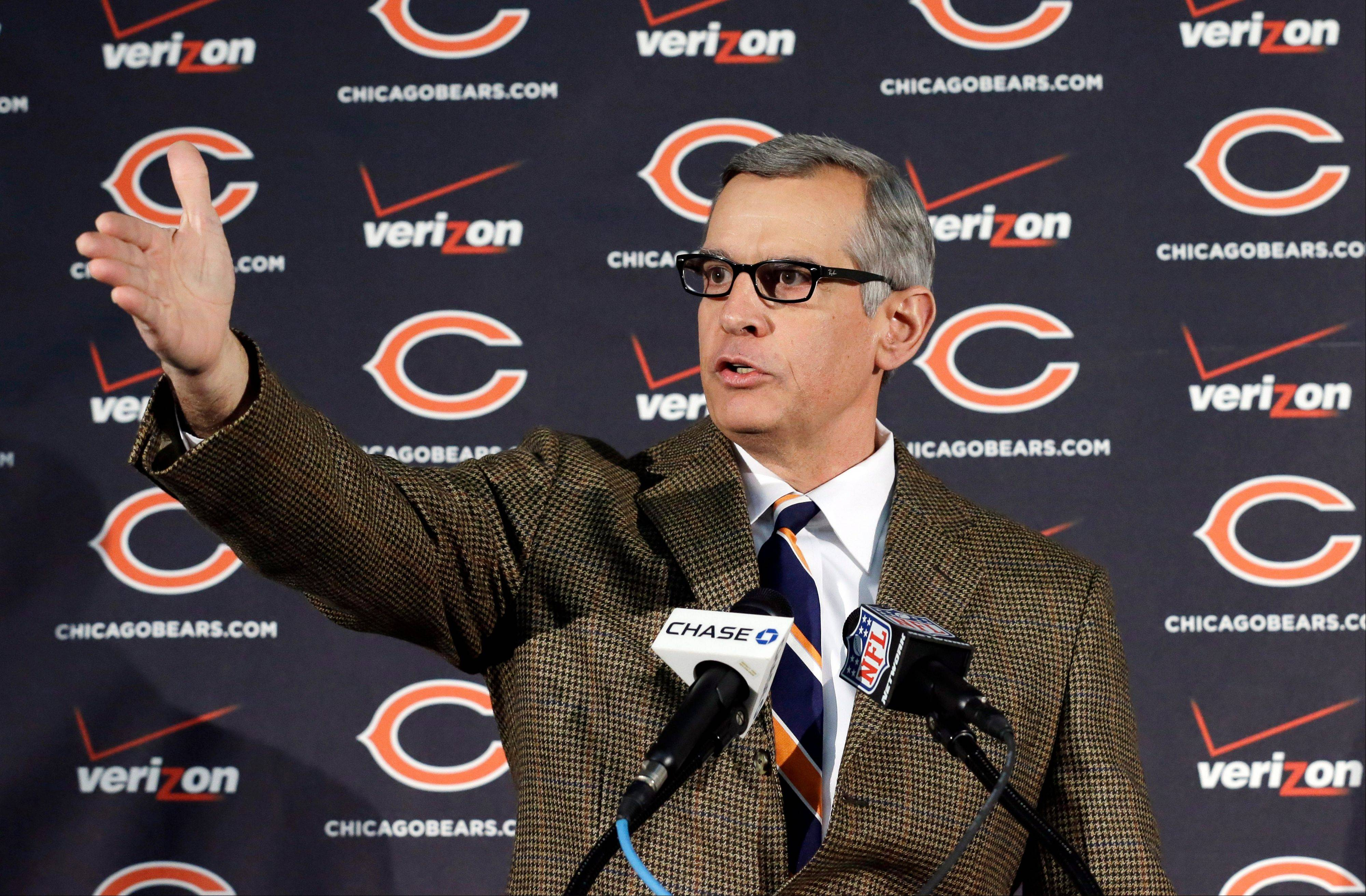 Chicago Bears general manager Phil Emery speaks at an NFL football news conference in Lake Forest, Ill., Tuesday, Jan. 1, 2013. A day after the Bears fired head coach Lovie Smith, Emery explained his decision to the media. AP Photo/Nam Y. Huh)