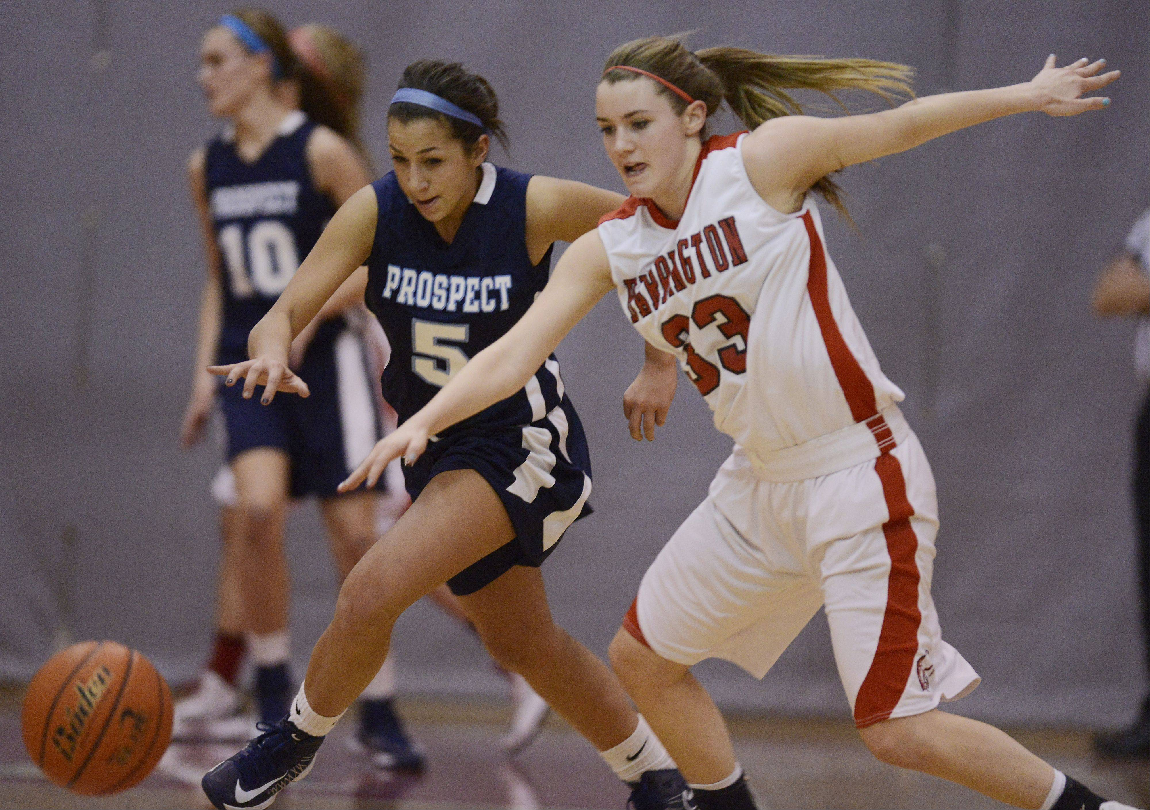 Prospect�s Kristen Frasco, left, tries to steal the ball from Barrington�s Angie Kirchoff.
