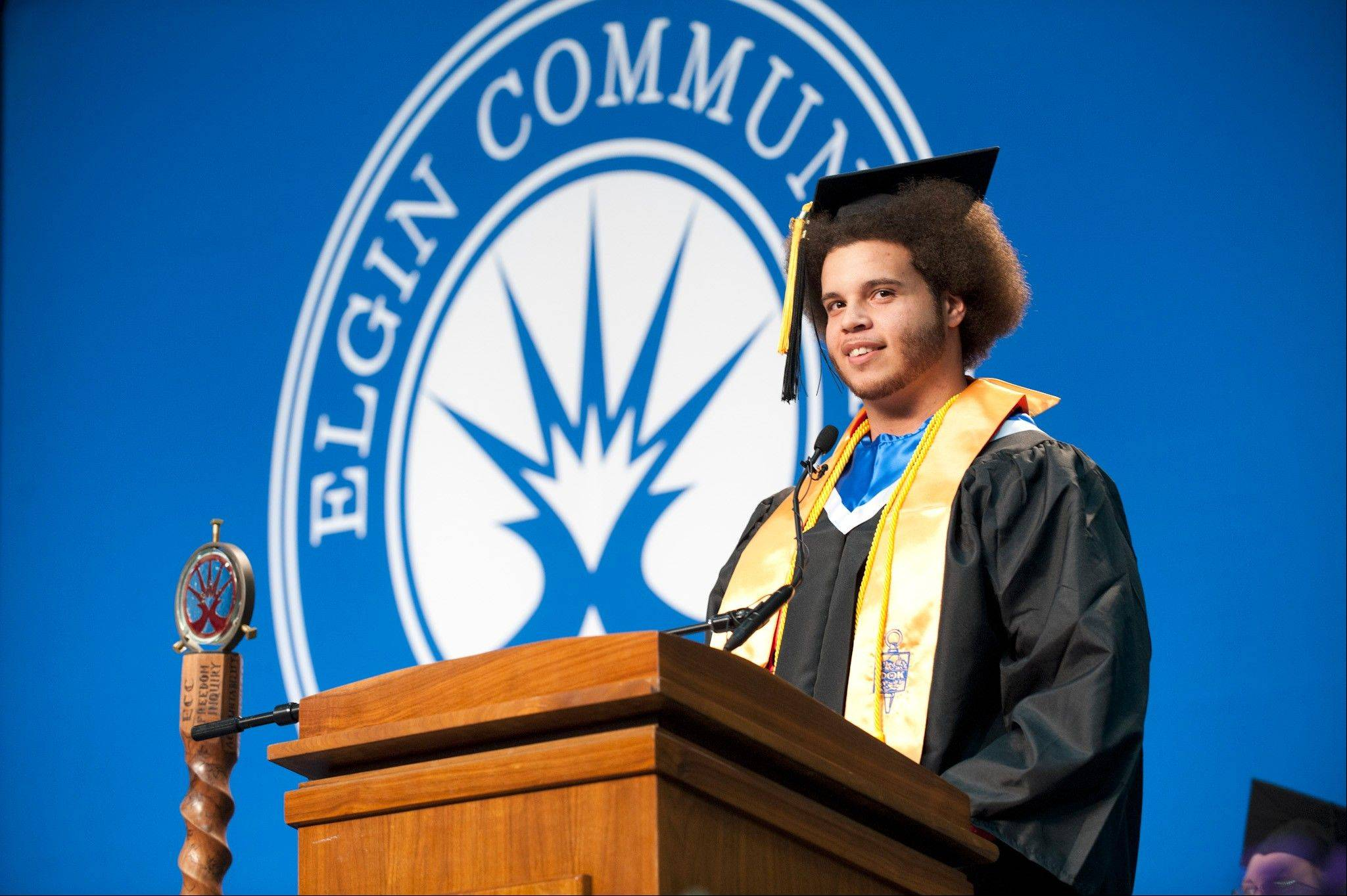 Bryan Lantz was the student speaker at Elgin Community College's December commencement ceremony. Lantz graduated from Larkin High School in 2010 and plans to continue his education at Judson University next fall.