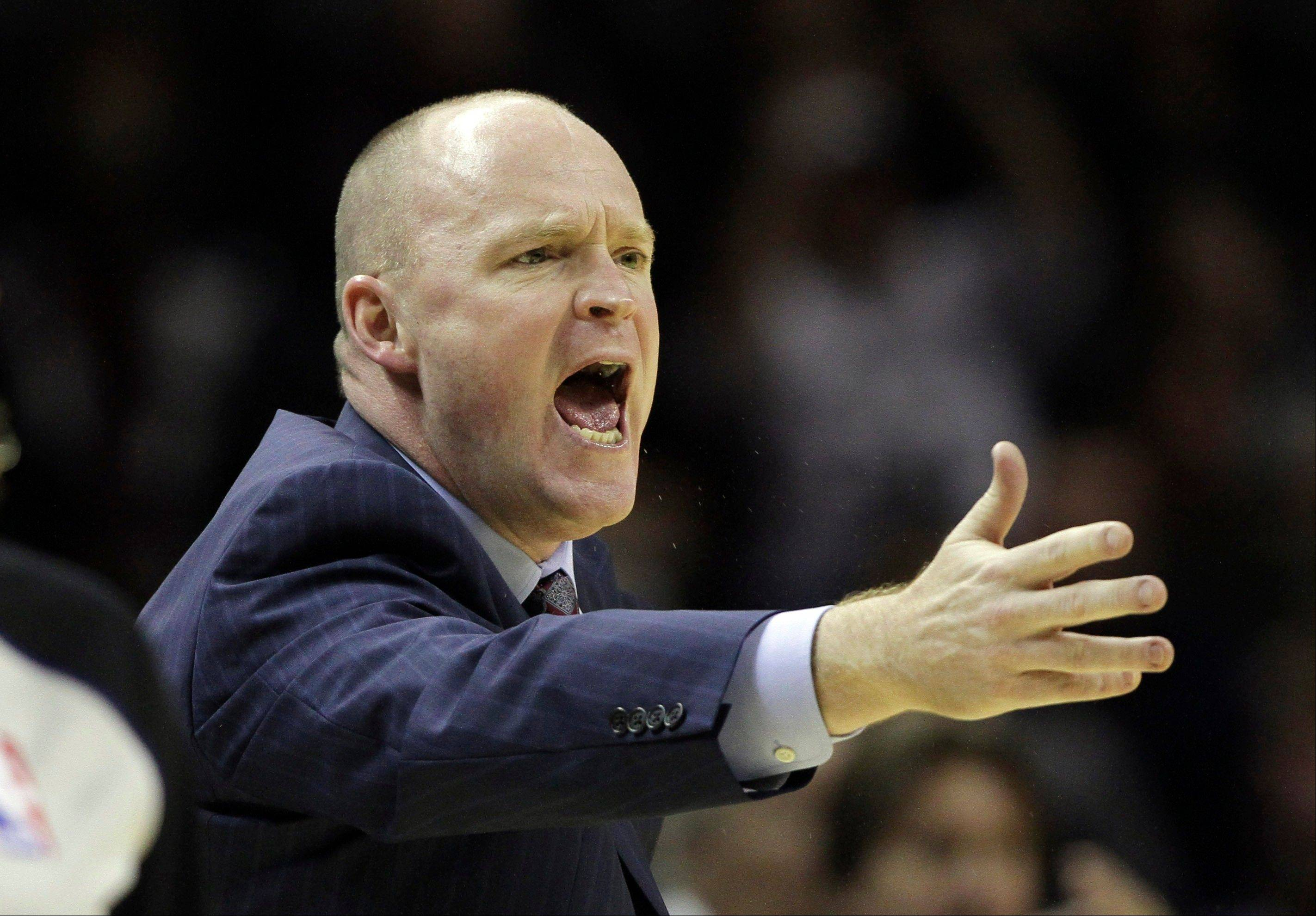 FILE - Milwaukee Buck head coach Scott Skiles argues a call during the fourth quarter of an NBA basketball game against the San Antonio Spurs, in this Dec. 5, 2012 file photo taken in San Antonio. Skiles and the Milwaukee Bucks have allegedly decided to part ways after just over four seasons together, ending a working relationship that seemed to been teetering on the brink for quite some time according to a person with knowledge of the move.