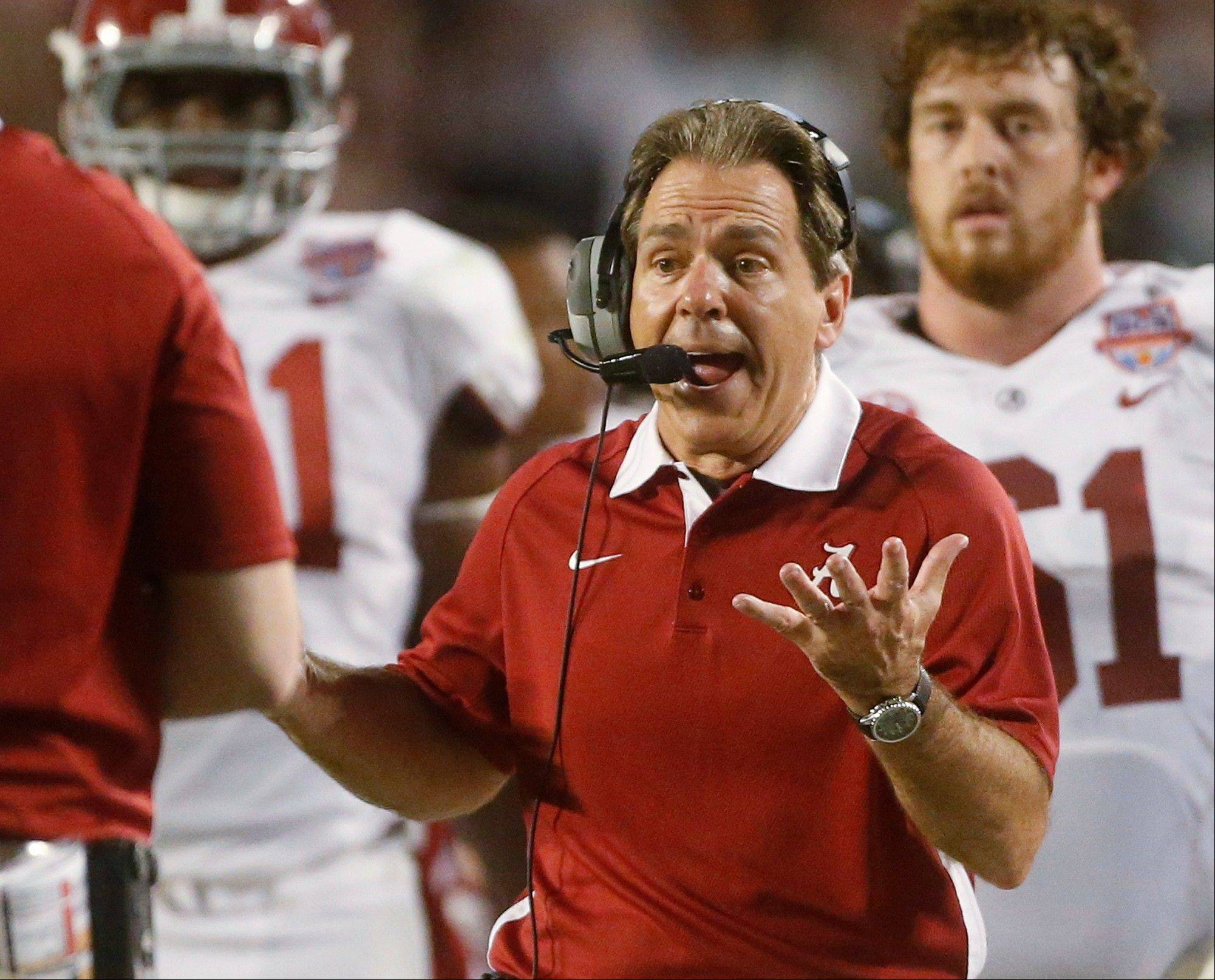 Alabama head coach Nick Saban reacts to a call during the first half of the BCS National Championship college football game against Notre Dame Monday, Jan. 7, 2013, in Miami.