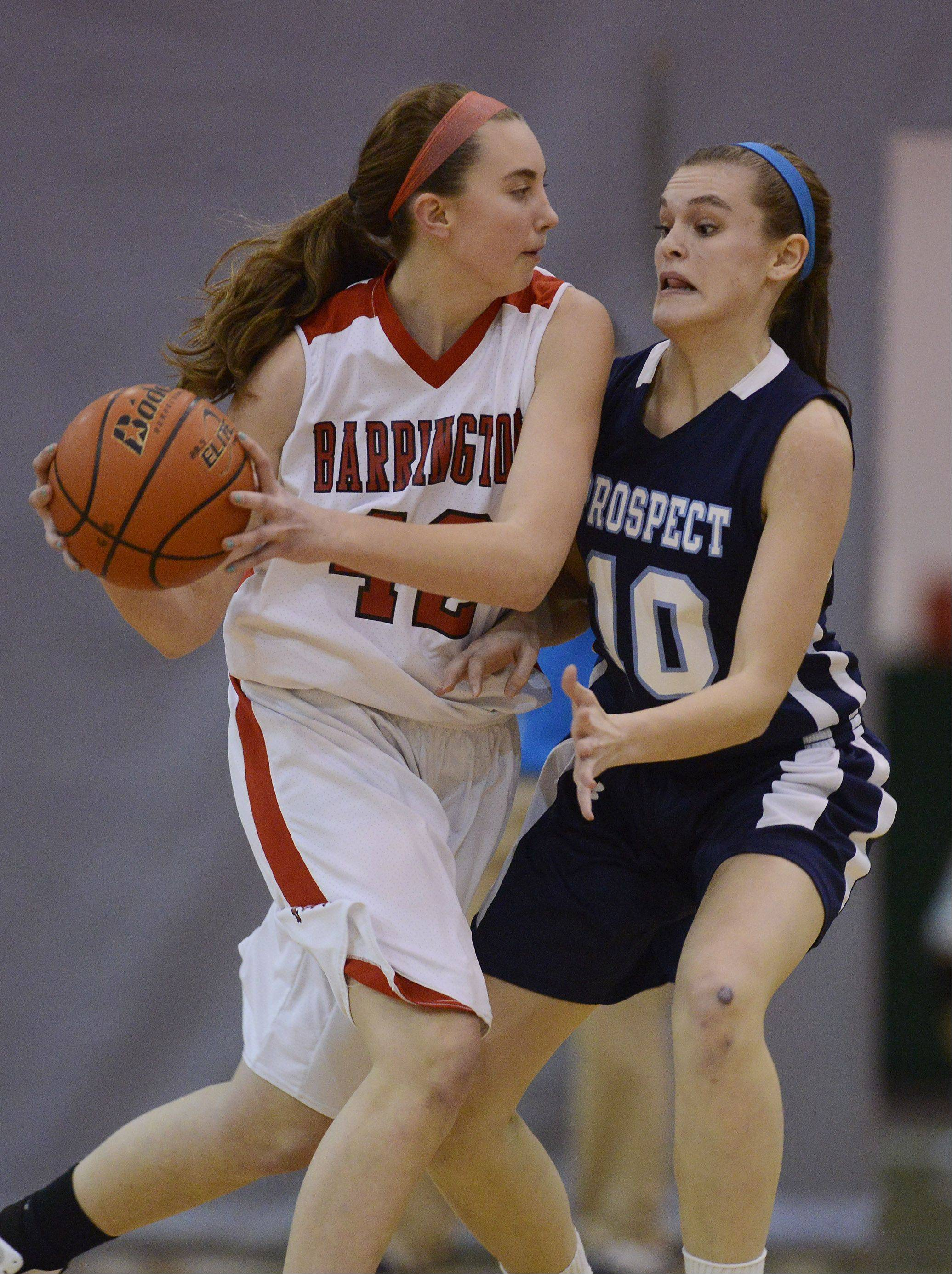 Barrington�s Megan Talbot, left, is closely guarded by Prospect�s Taylor Will during Tuesday�s game.
