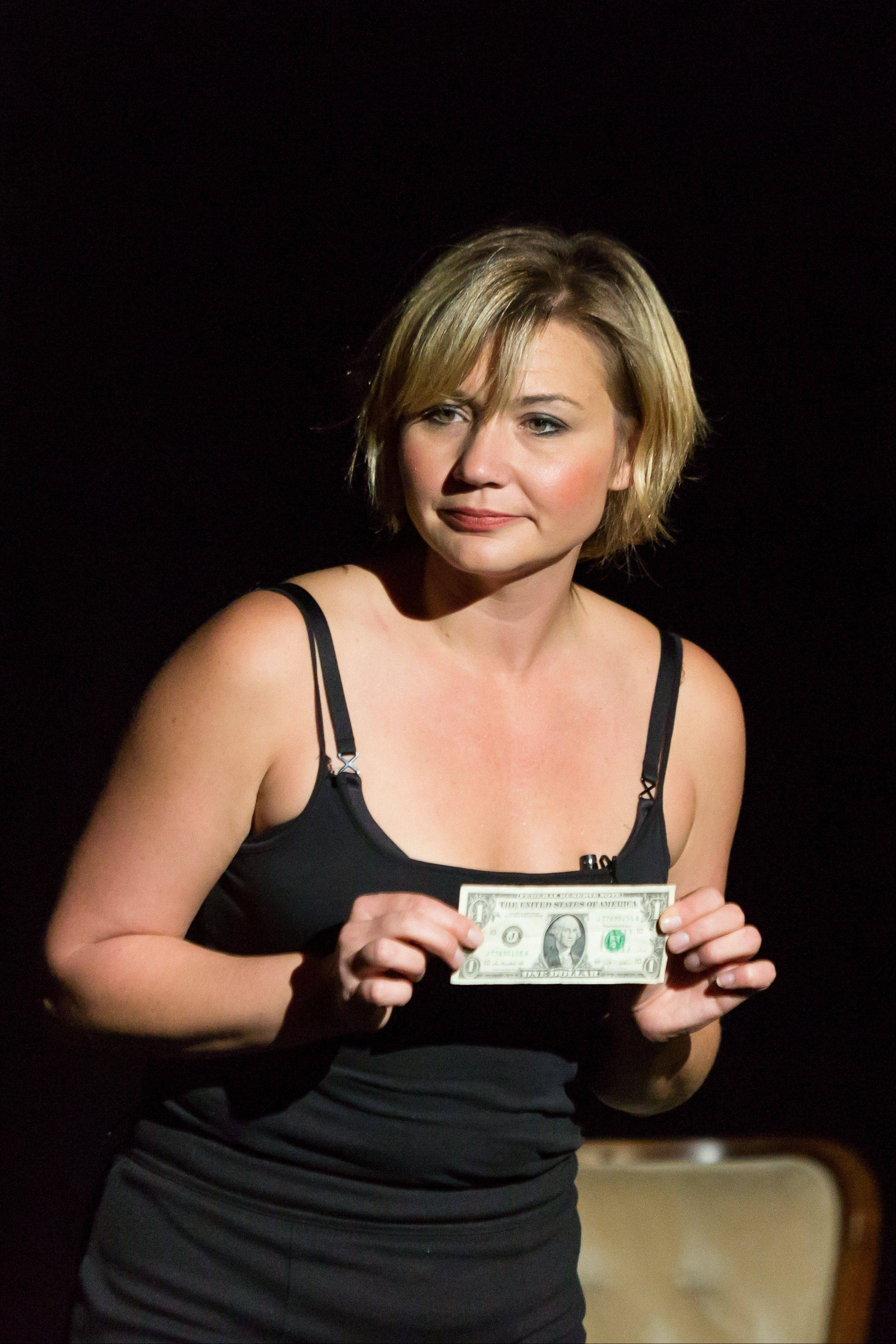 "Actress Chrissy Hogue performs in the comedy ""The Stupid Economy,"" which returns to the Metropolis Performing Arts Centre in Arlington Heights."