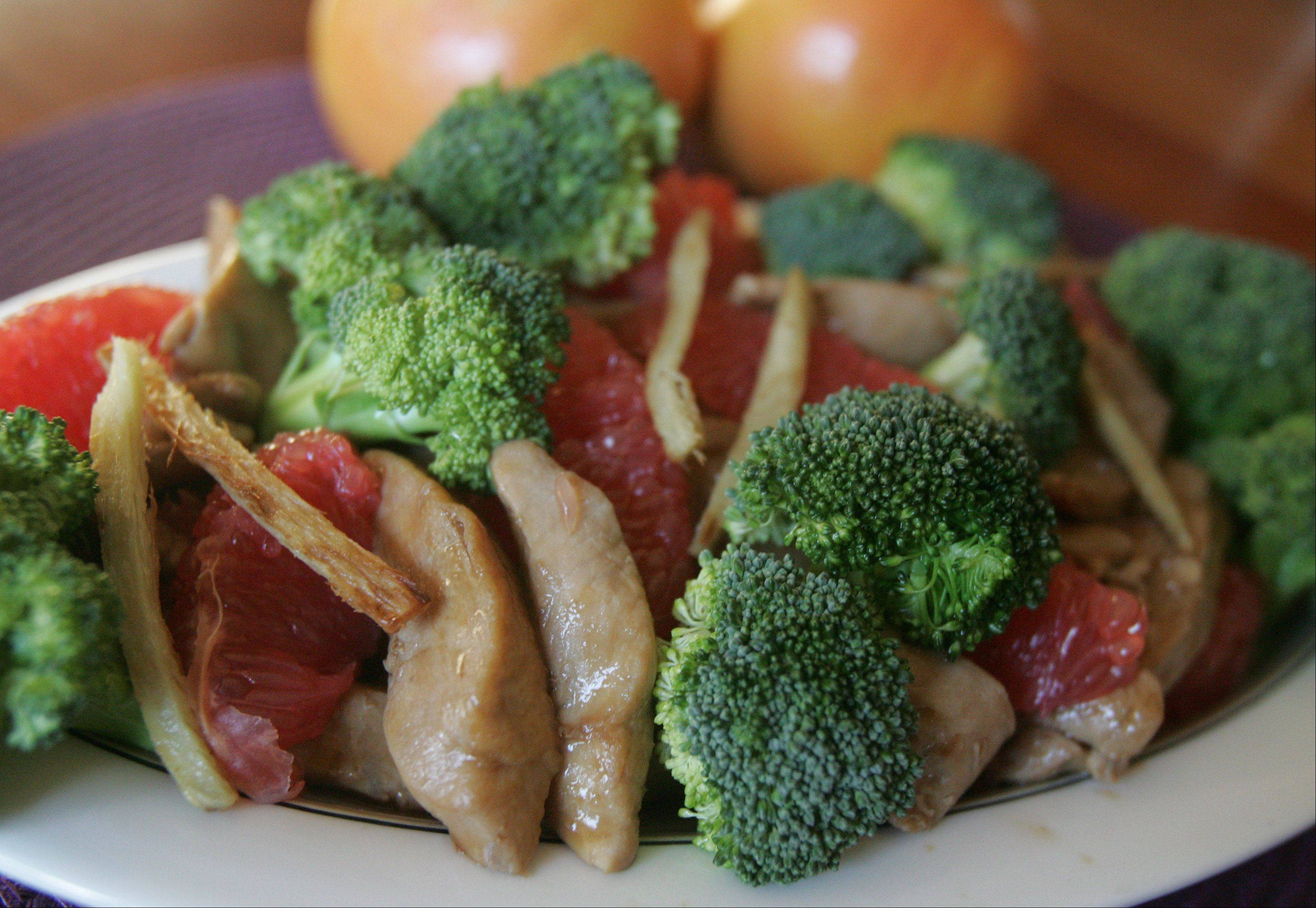 Get a healthy dose of vitamin C with this warm dish of Chicken with Ginger, Broccoli and Grapefruit.