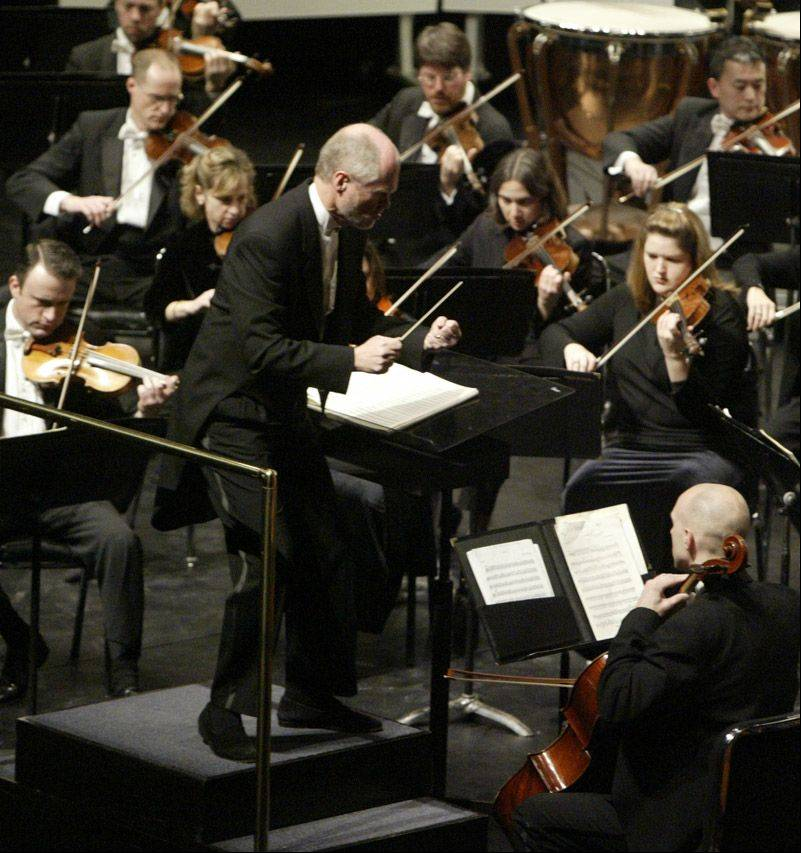 The Elgin Symphony Orchestra plans to name a new music director in May. Longtime music director Robert Hanson, pictured above, left in summer 2011.