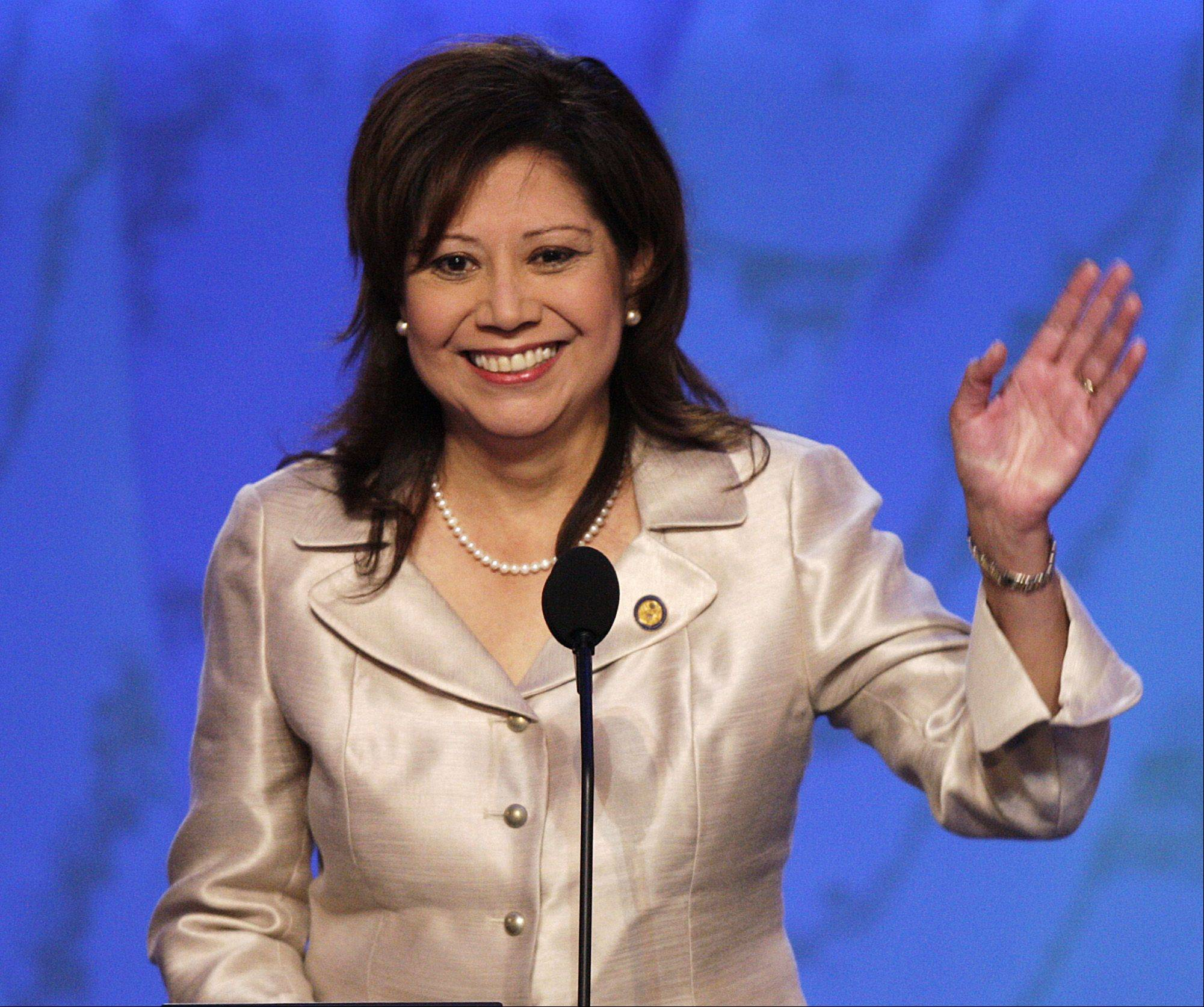 Labor Secretary Hilda Solis, seen here, is resigning and three other members of the president's Cabinet are deciding to stay on amid concerns about diversity in Barack Obama's inner circle.