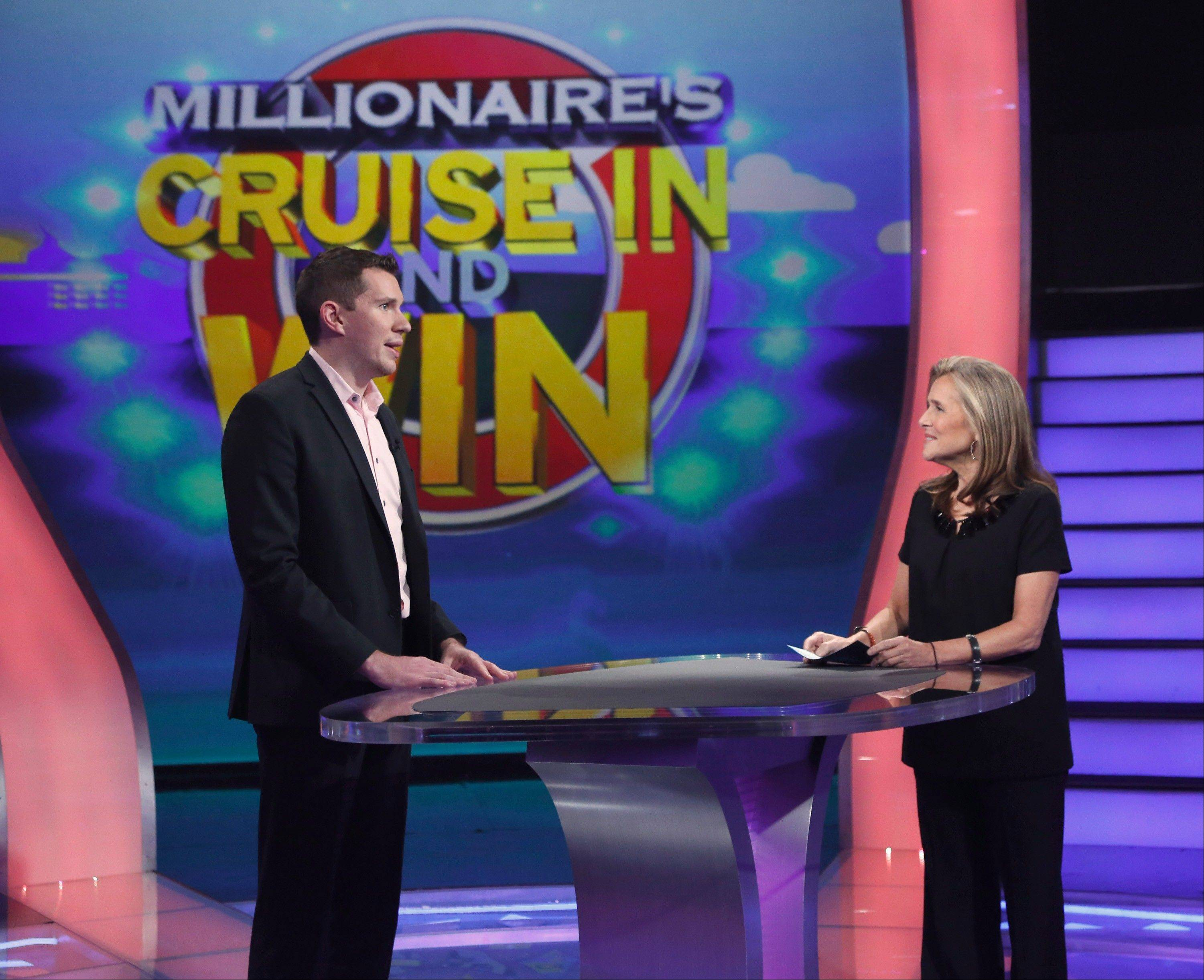 "Robert Ziecik is with host Meredith Vieira on ""Who Want To Be a Millionaire."""