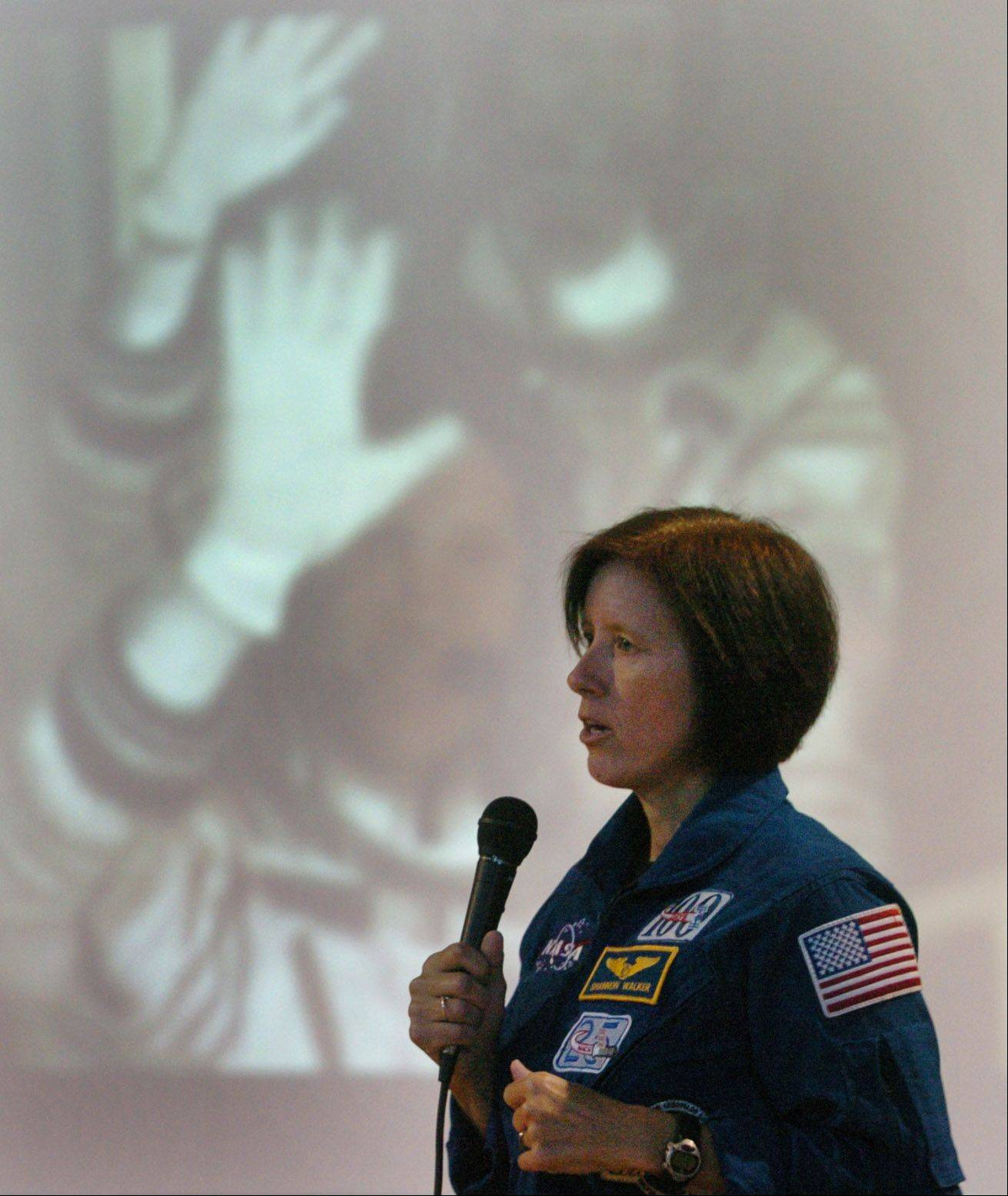 NASA astronaut Shannon Walker speaks to students at St. Anne School in Barrington Wednesday.