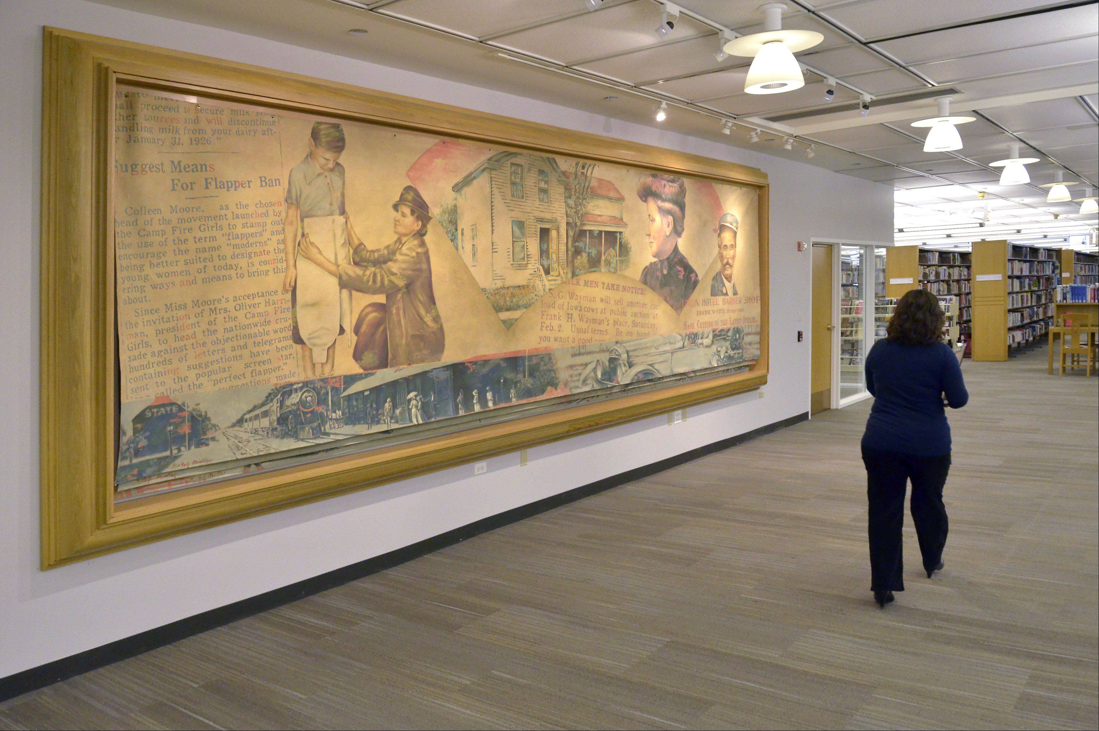A historical mural hangs outside the genealogy room.