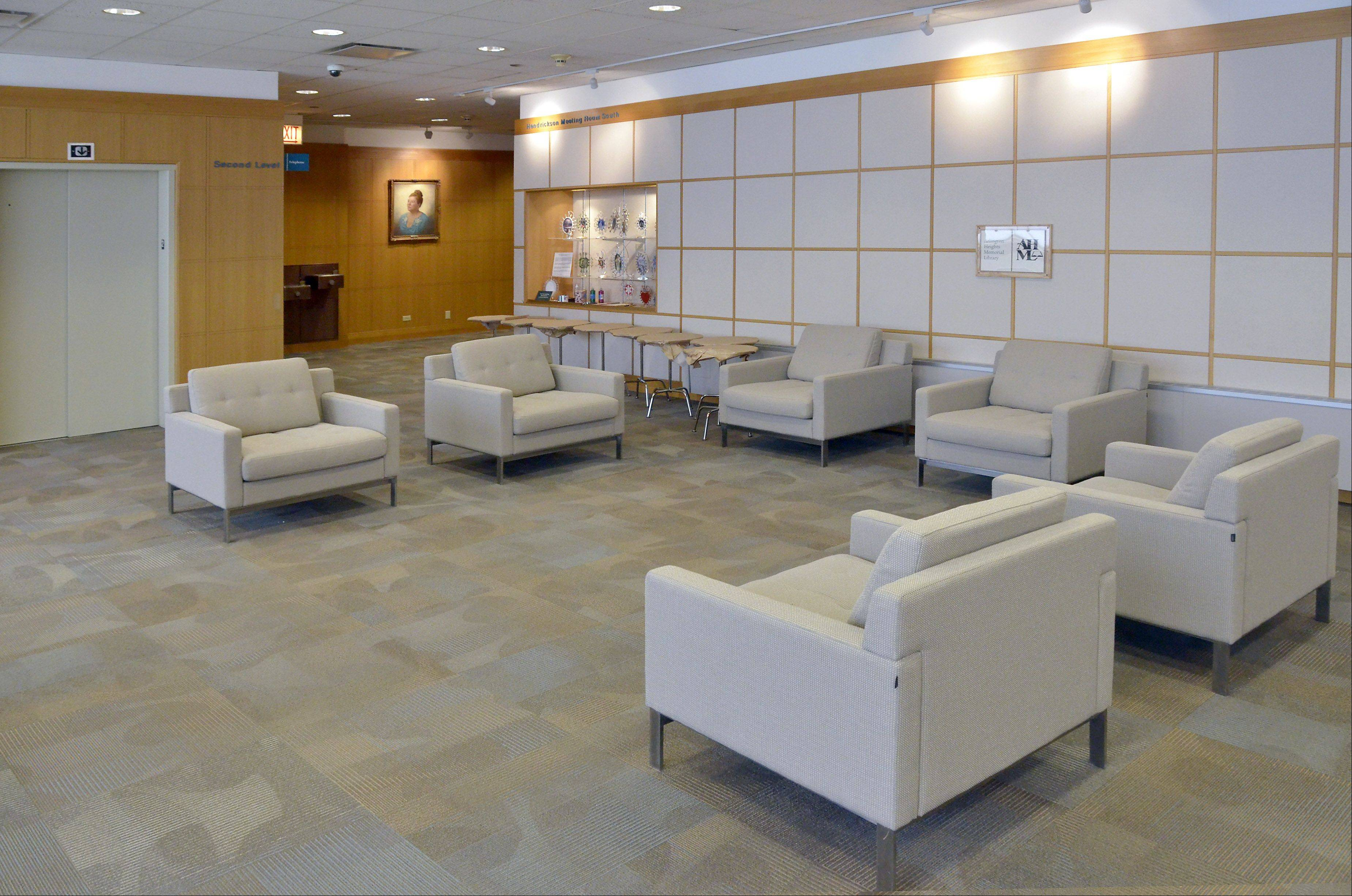 A reception area lounge outside the Hendrickson Room is part of renovations at the Arlington Heights Memorial Library.