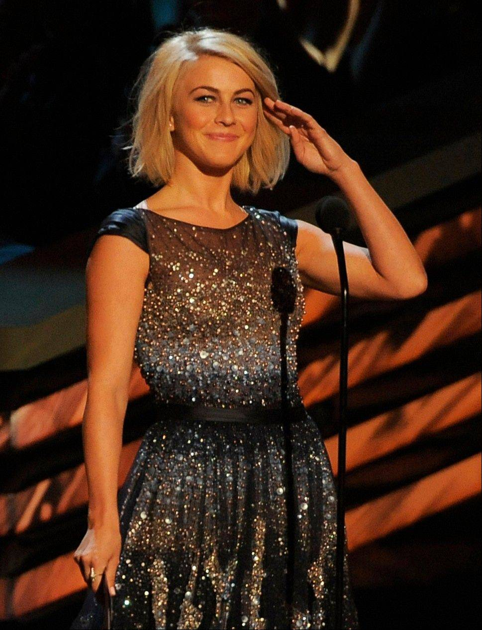 Julianne Hough presents the award for favorite comedic movie actress at the People's Choice Awards at the Nokia Theatre on Wednesday Jan. 9, 2013, in Los Angeles.