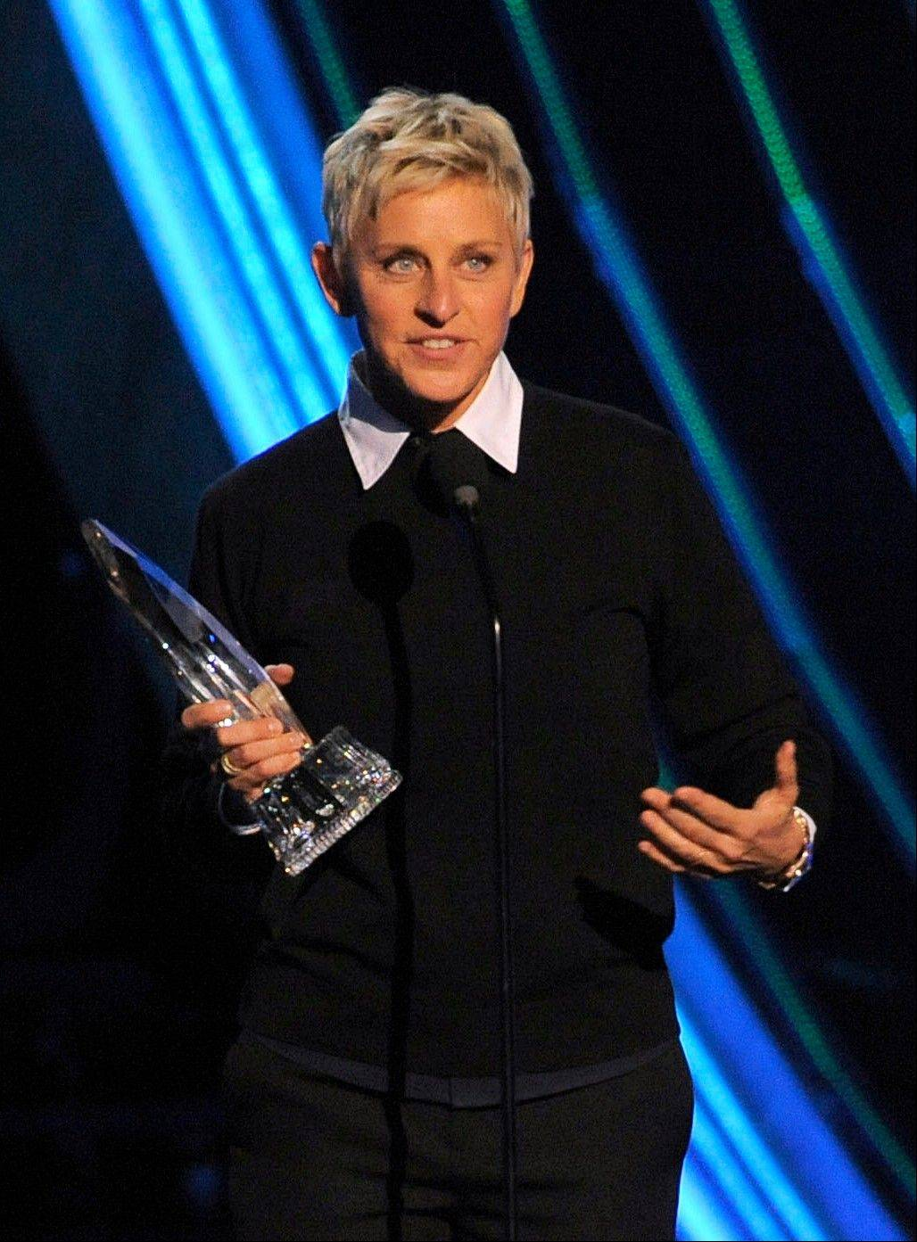 Ellen Degeneres accepts the award for favorite daytime TV host at the People�s Choice Awards at the Nokia Theatre on Wednesday Jan. 9, 2013, in Los Angeles.