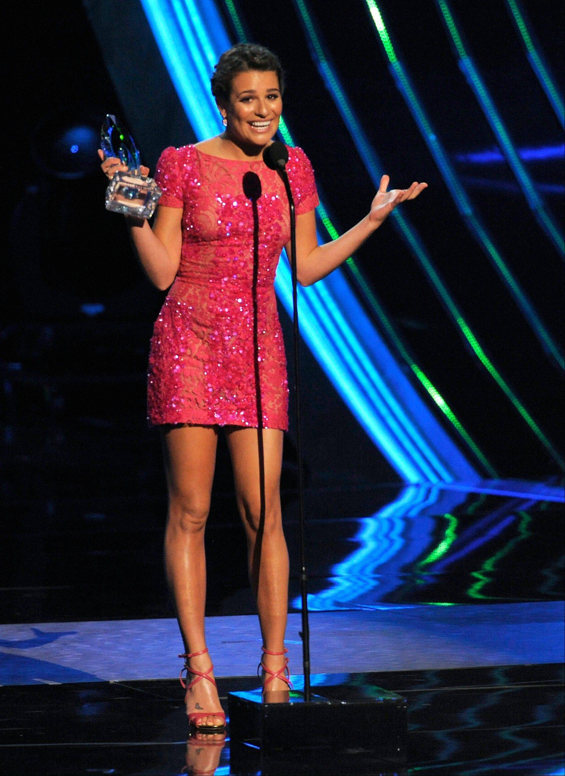 Lea Michele accepts the award for favorite comedic TV actress at the People�s Choice Awards at the Nokia Theatre on Wednesday Jan. 9, 2013, in Los Angeles.