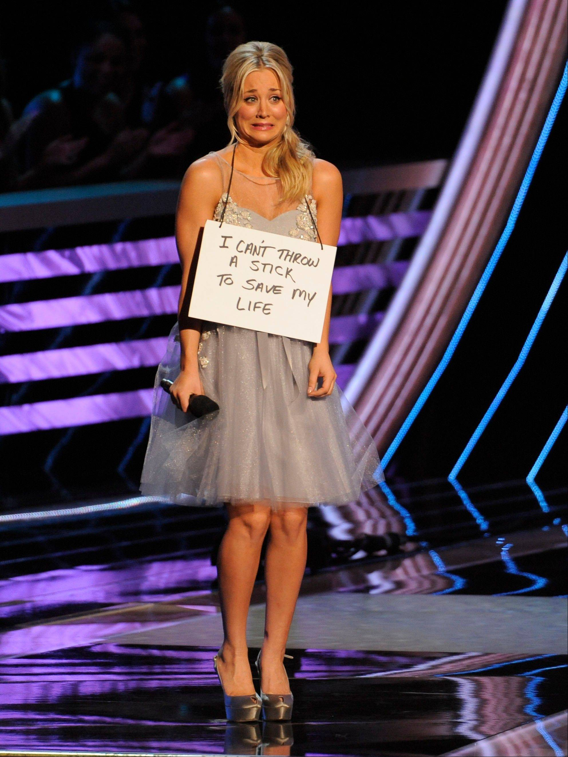 Host Kaley Cuoco is seen on stage at the People's Choice Awards at the Nokia Theatre on Wednesday Jan. 9, 2013, in Los Angeles.