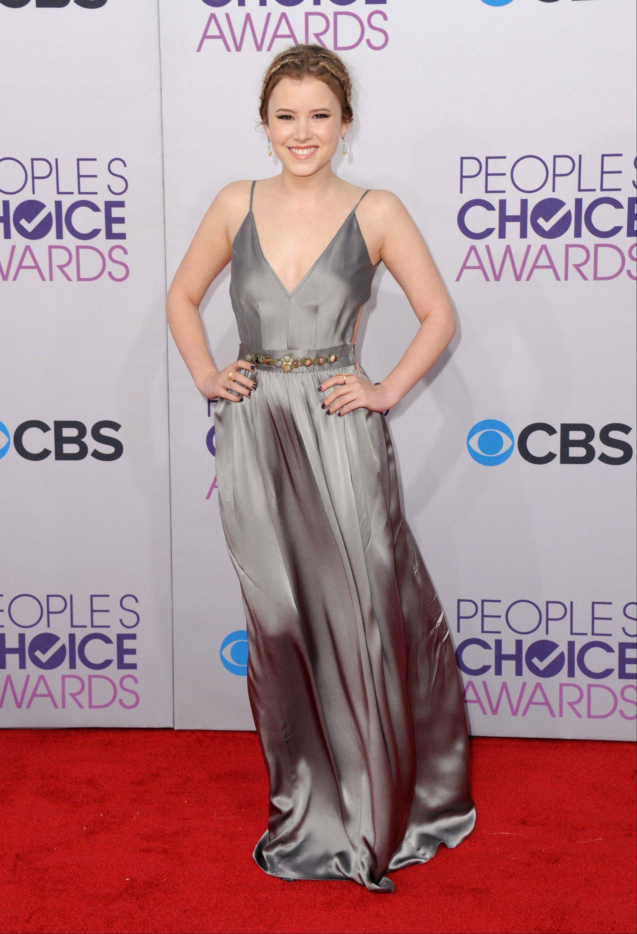 Taylor Spreitler arrives at the People's Choice Awards at the Nokia Theatre on Wednesday Jan. 9, 2013, in Los Angeles.