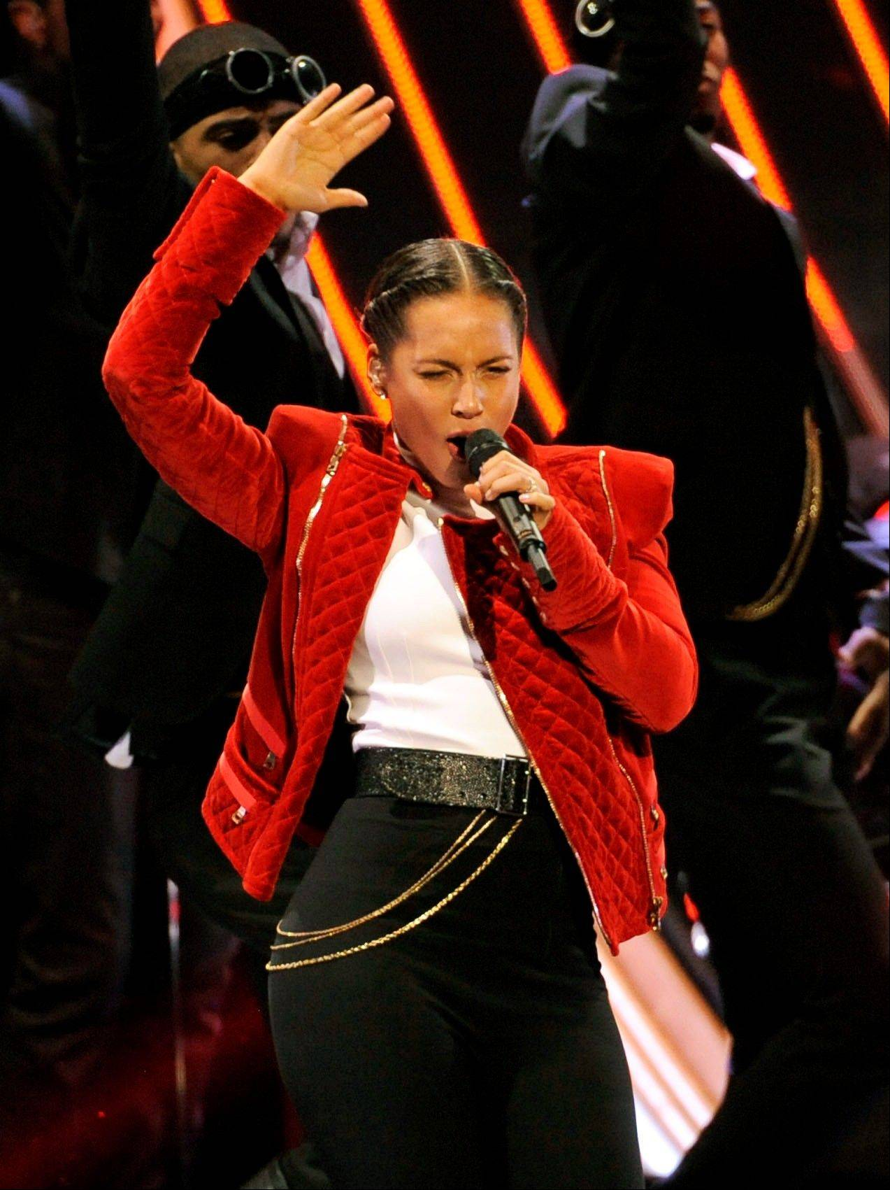 Alicia Keys performs at the People's Choice Awards at the Nokia Theatre on Wednesday Jan. 9, 2013, in Los Angeles.