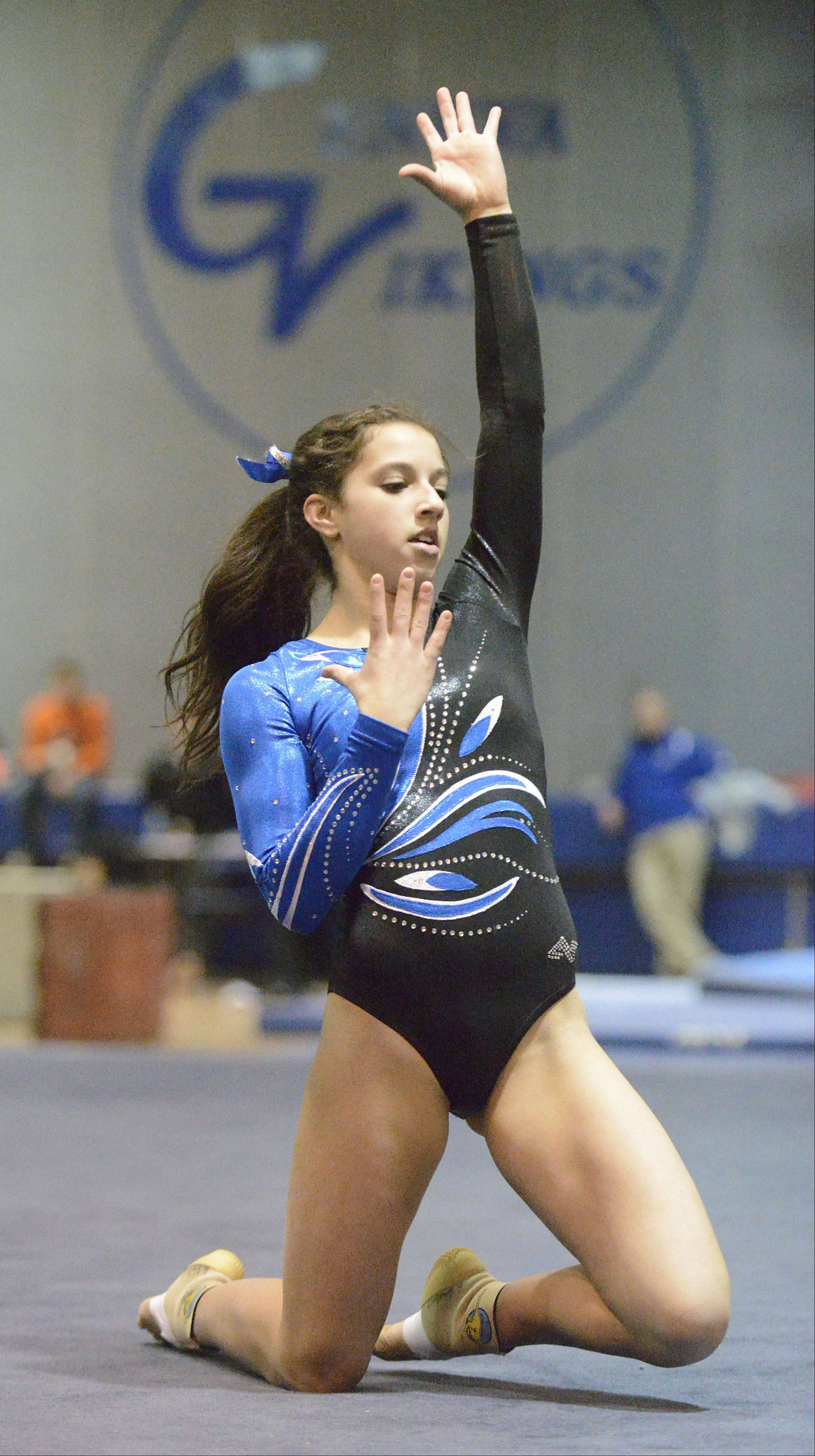 Geneva's Grace Ginsberg performs her floor routine on Wednesday, January 9.