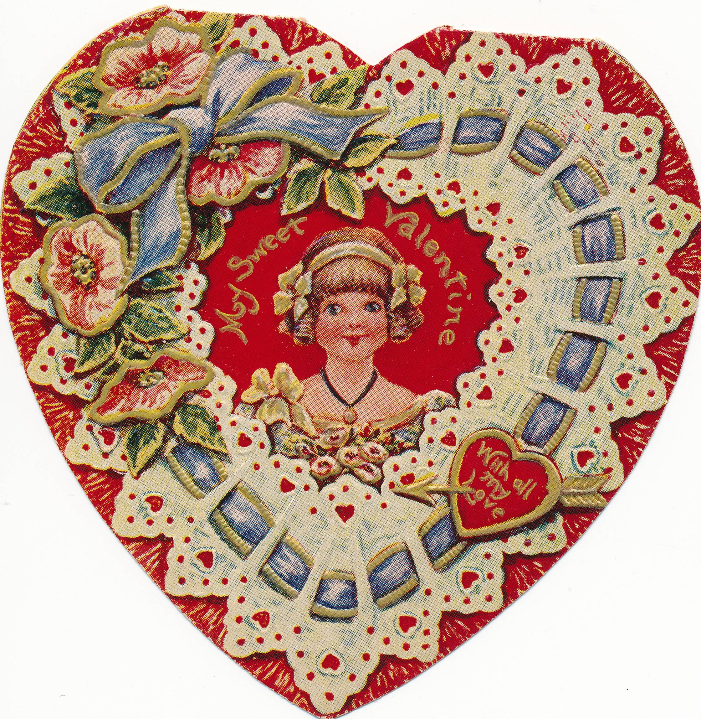 This Valentine and many others from the era were donated to the museum from the estate of Bartlett residents Harris and Pearl (nee Hoth) Gates. The greeting, circa 1932, was given to her lifelong and area friend, Eloise Leiseberg, by siblings and Ontarioville residents James and Lois Nesler. The inside features a cherub and sentiment expressing a sweet message.