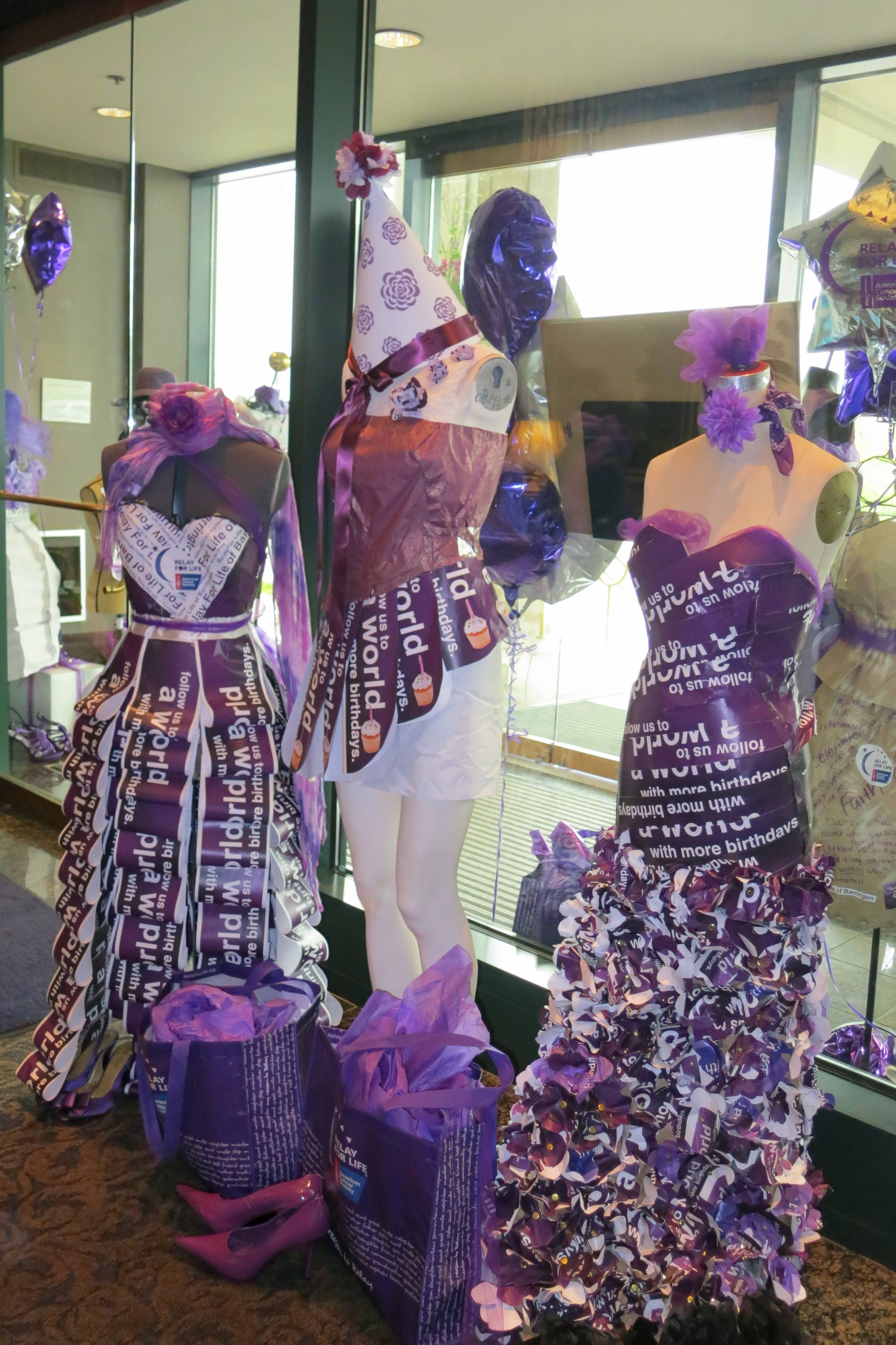 Dresses made by Barrington High School students last year to promote Relay For Life.